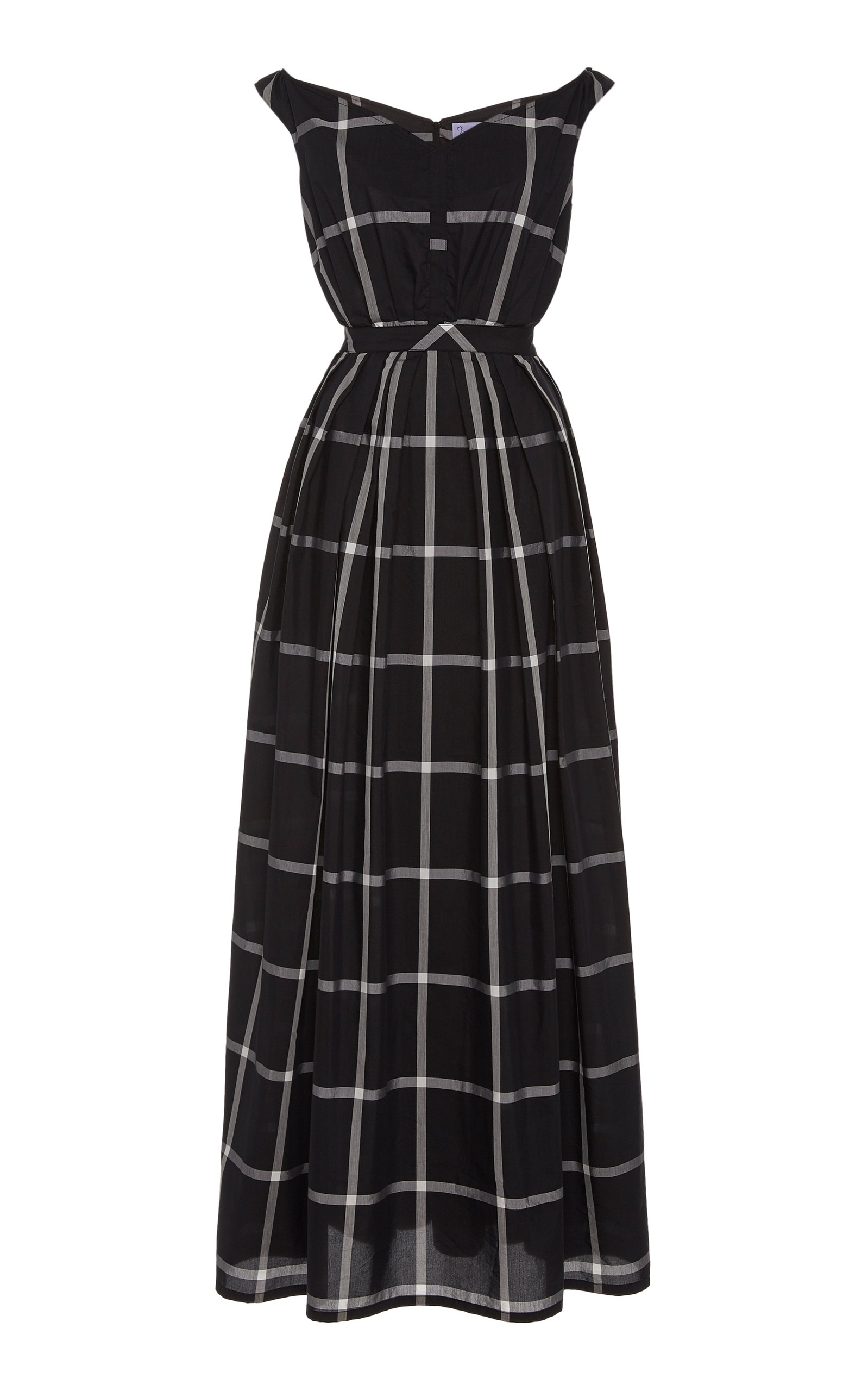 Buy Thierry Colson Valeria Checked Cotton-Silk Maxi Dress online, shop Thierry Colson at the best price