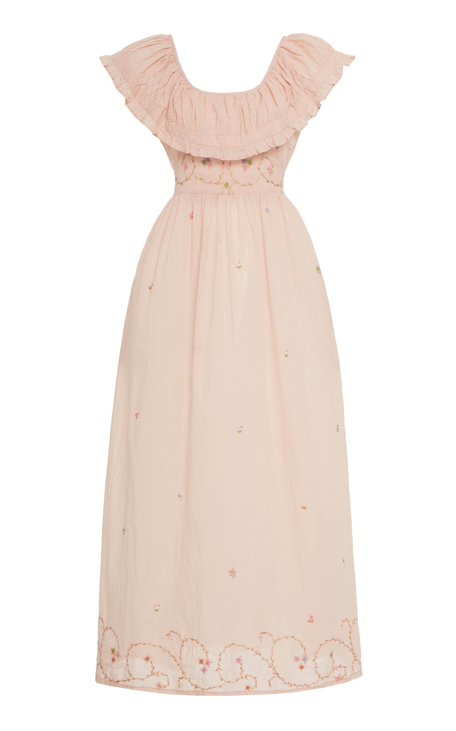 Buy Thierry Colson Milos Ruffled Embroidered Cotton Maxi Dress online, shop Thierry Colson at the best price