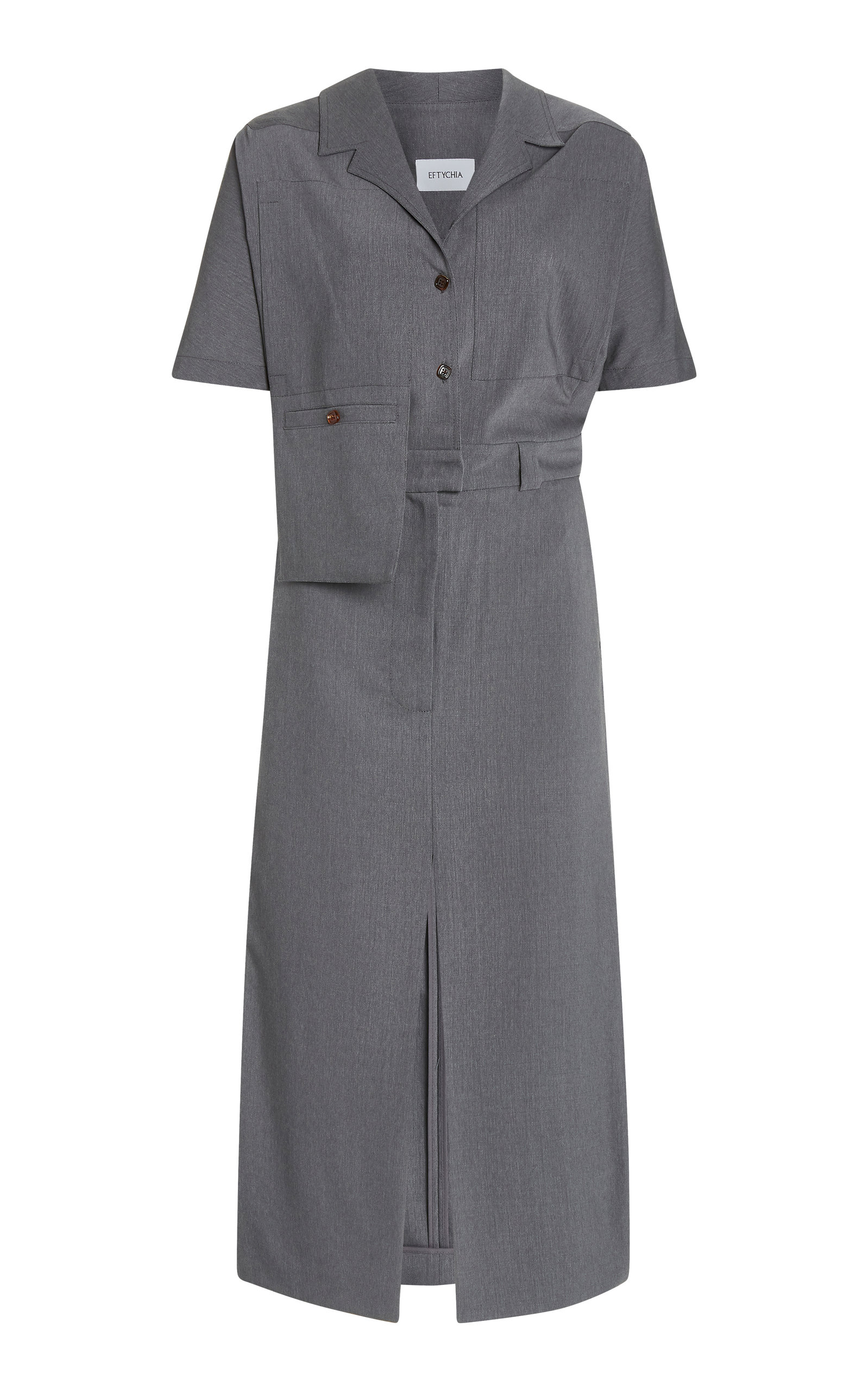 Buy Eftychia Asymmetric Wool-Blend Shirt Dress online, shop Eftychia at the best price