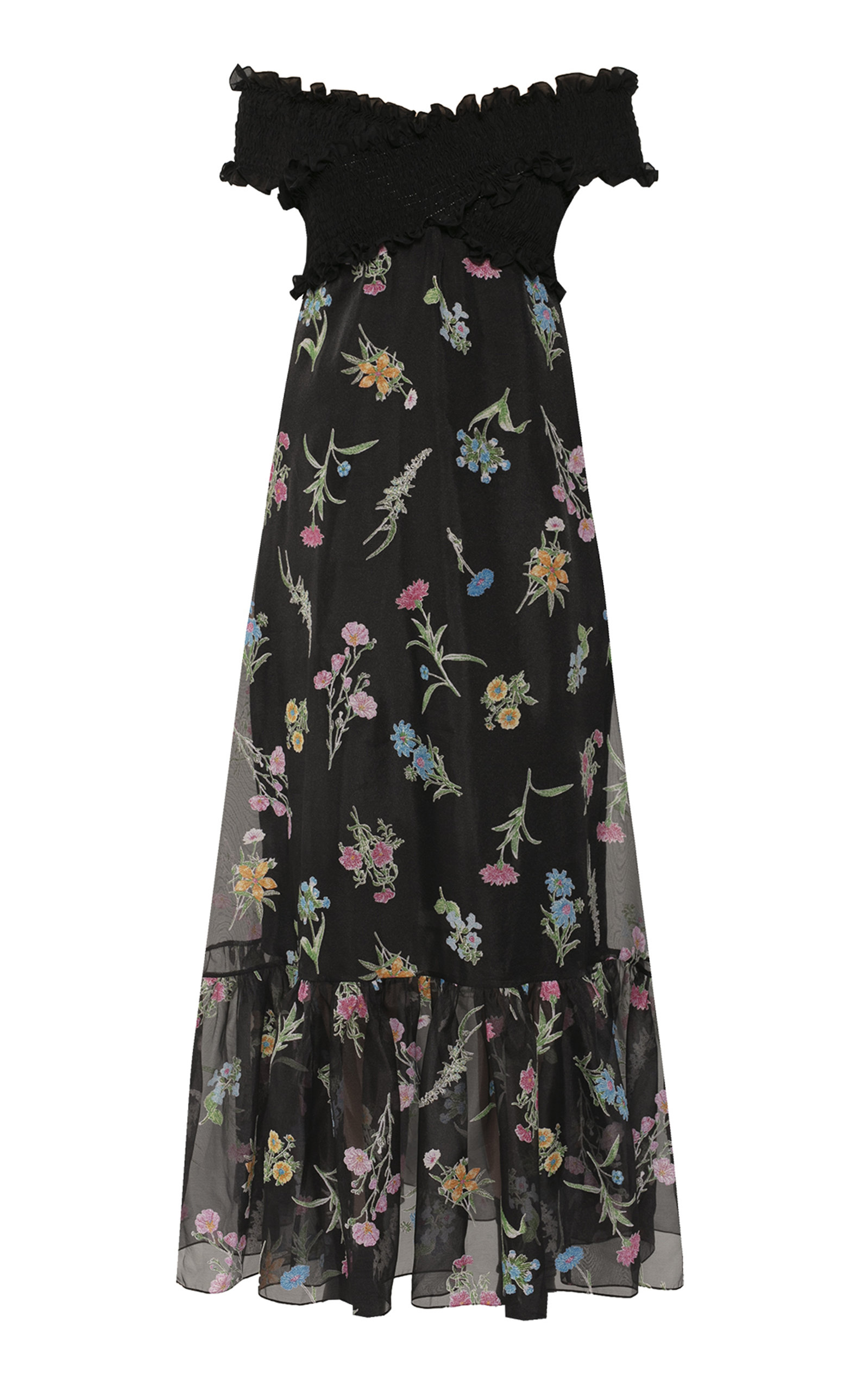 Buy Anna October Ani Floral-Print Organza Off-The-Shoulder Maxi Dress online, shop Anna October at the best price