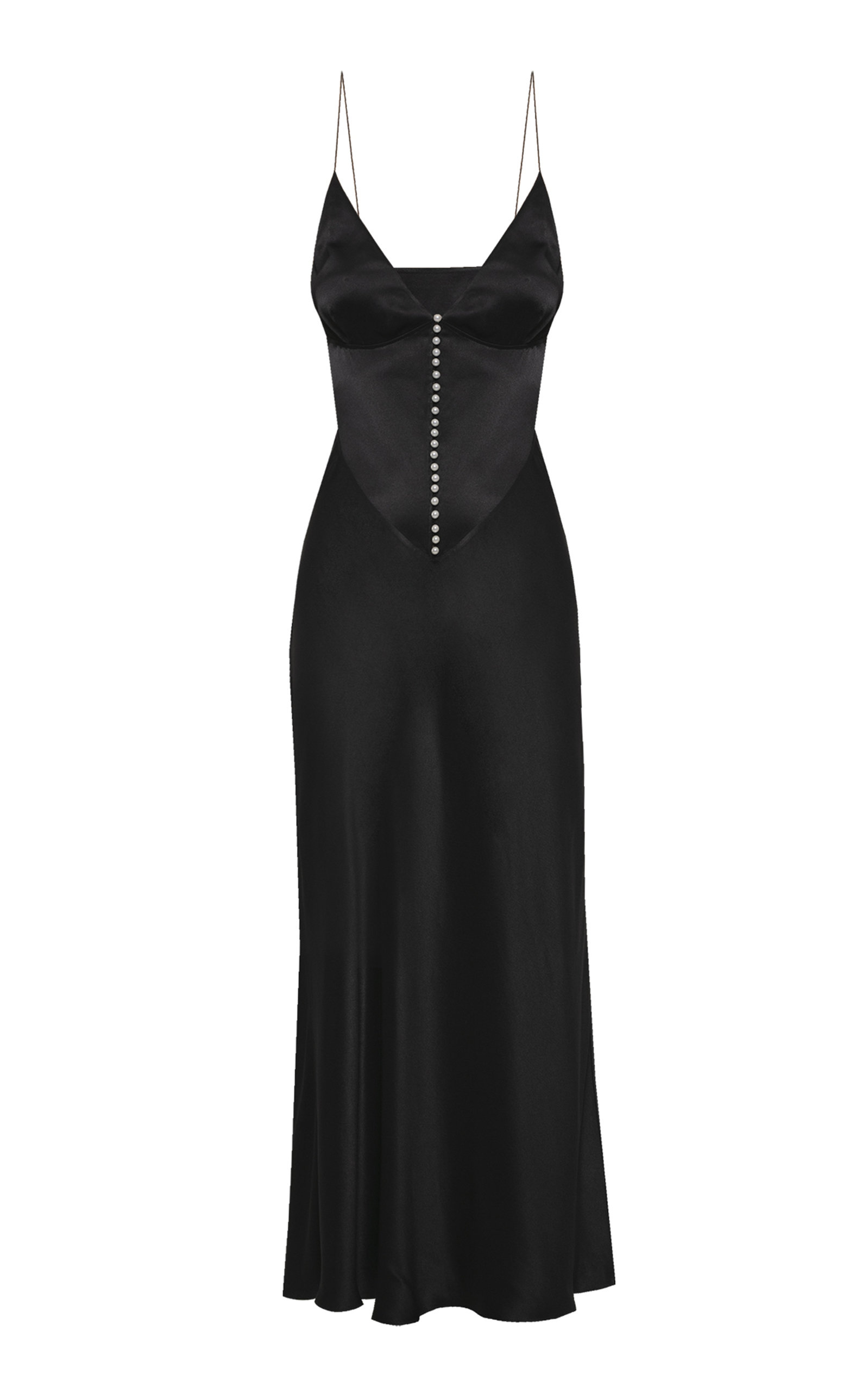 Buy Anna October Claire Button-Detailed Satin Maxi Dress online, shop Anna October at the best price