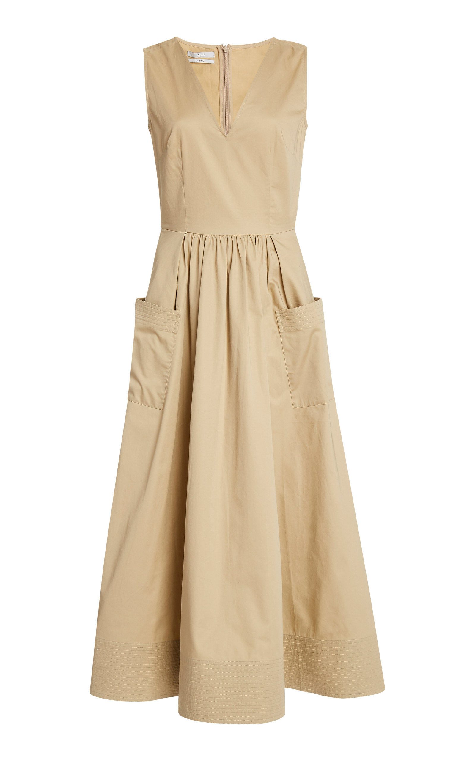 Buy Co Pleated Cotton-Sateen Midi Dress online, shop Co at the best price