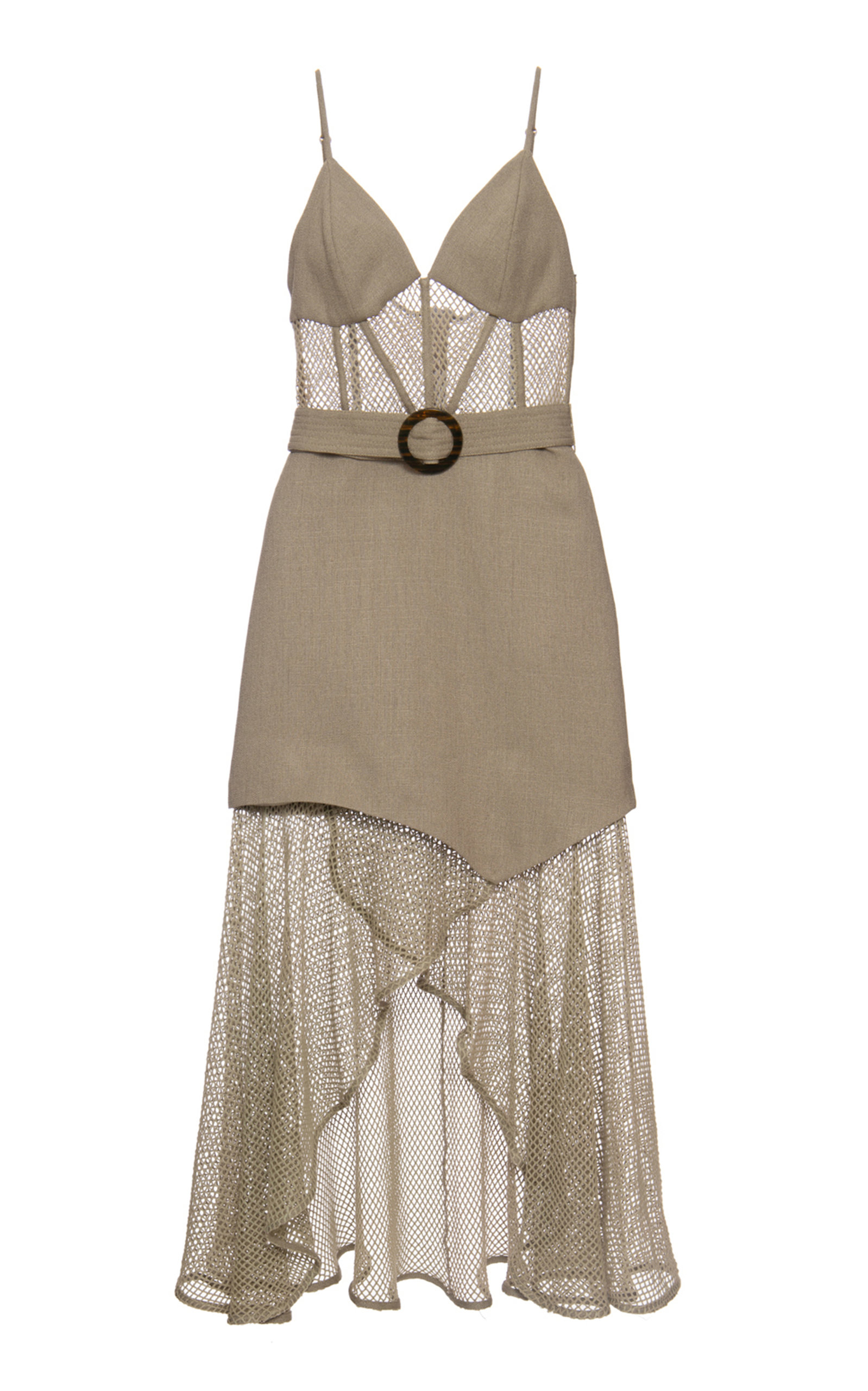 Patbo MESH AND LINEN BUSTIER DRESS