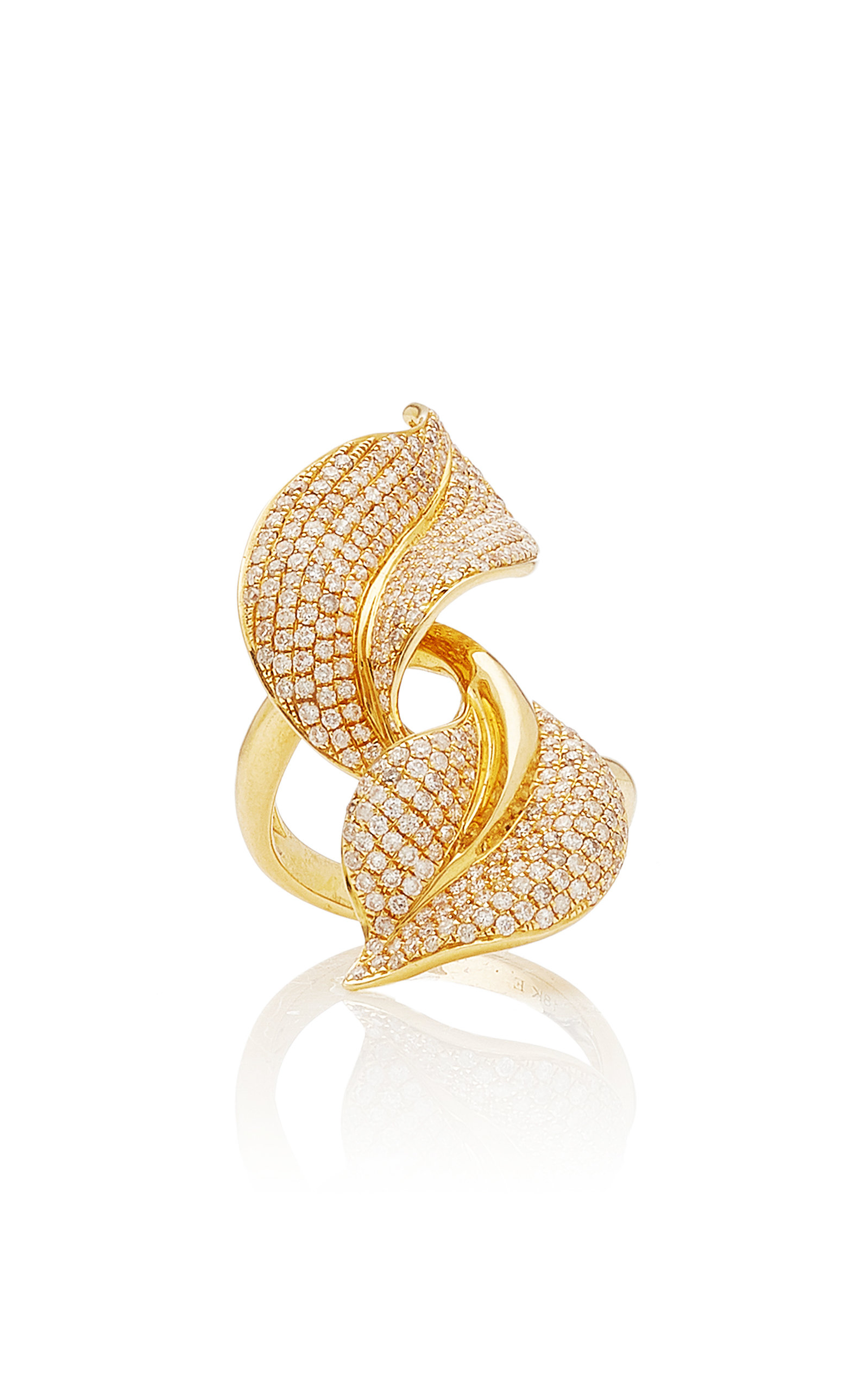 Women's Spring 18K Yellow-Gold and White Diamond Ring