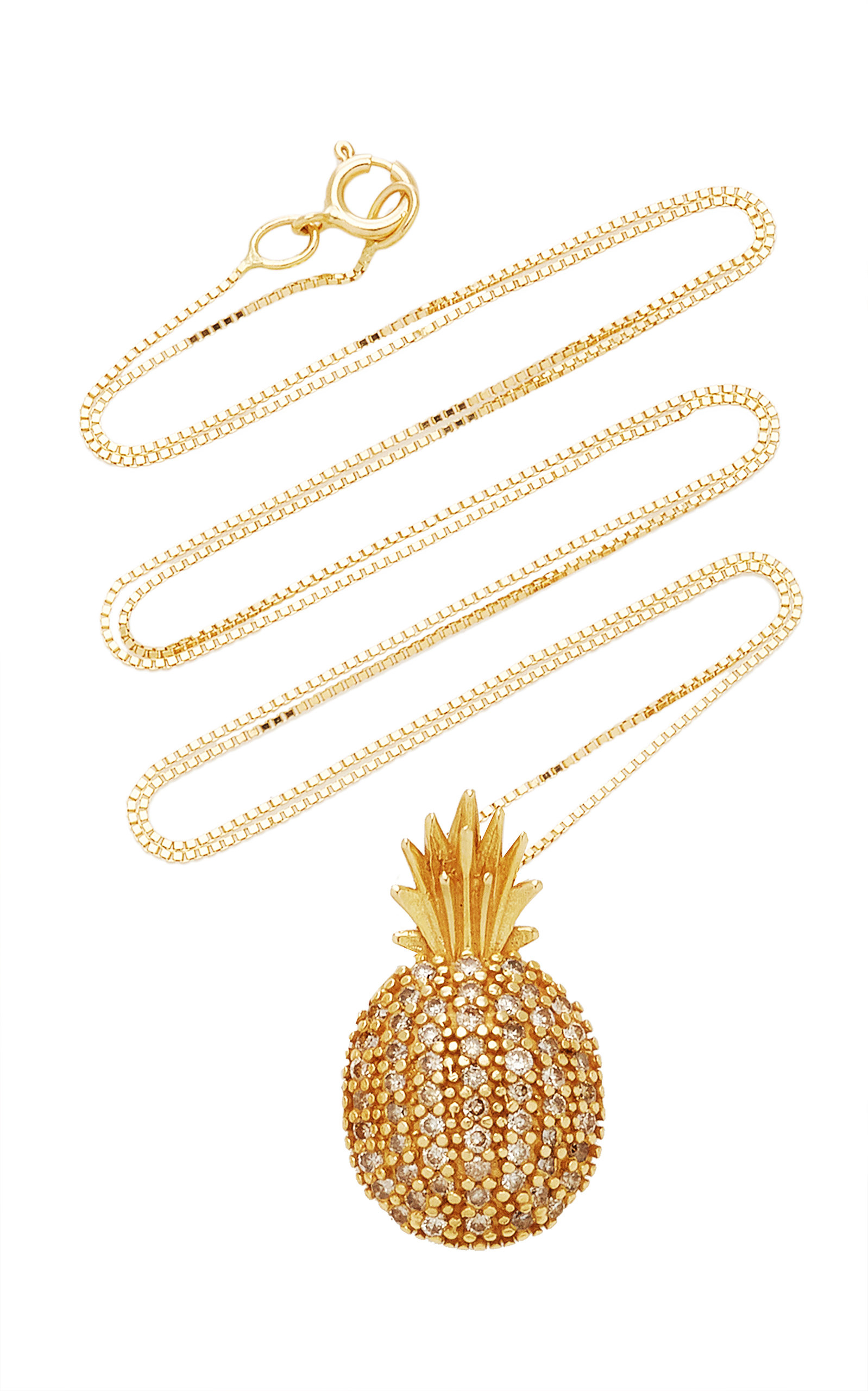 Women's Pineapple 18k Yellow-Gold and White Diamond Necklace