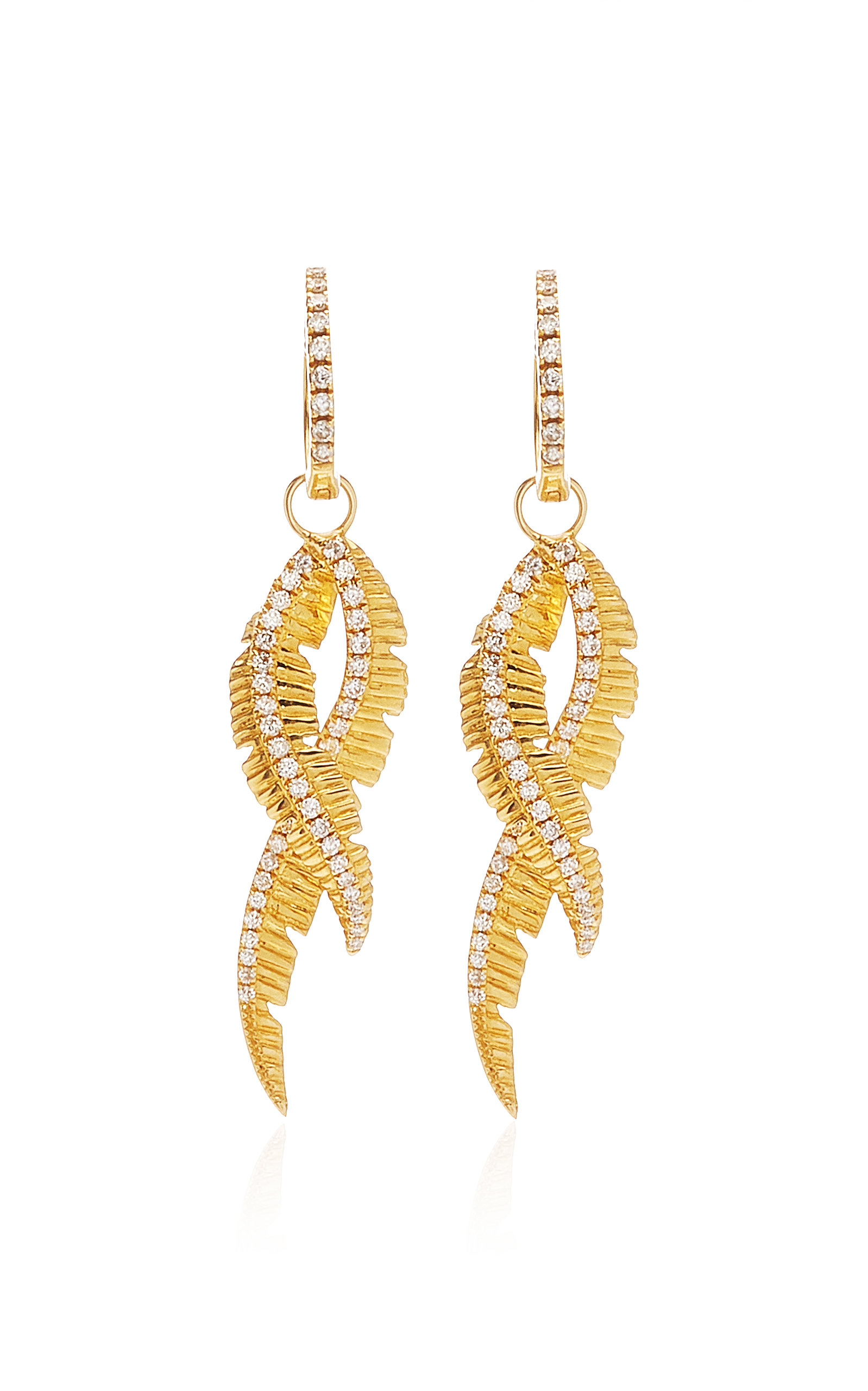 Women's Adornment Yellow-Gold and White Diamond Earrings
