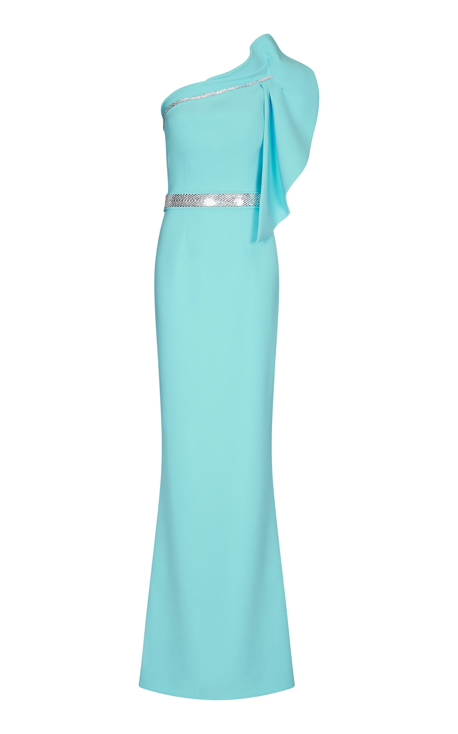 Buy Safiyaa Benita One-Shoulder Embellished Crepe Gown online, shop Safiyaa at the best price