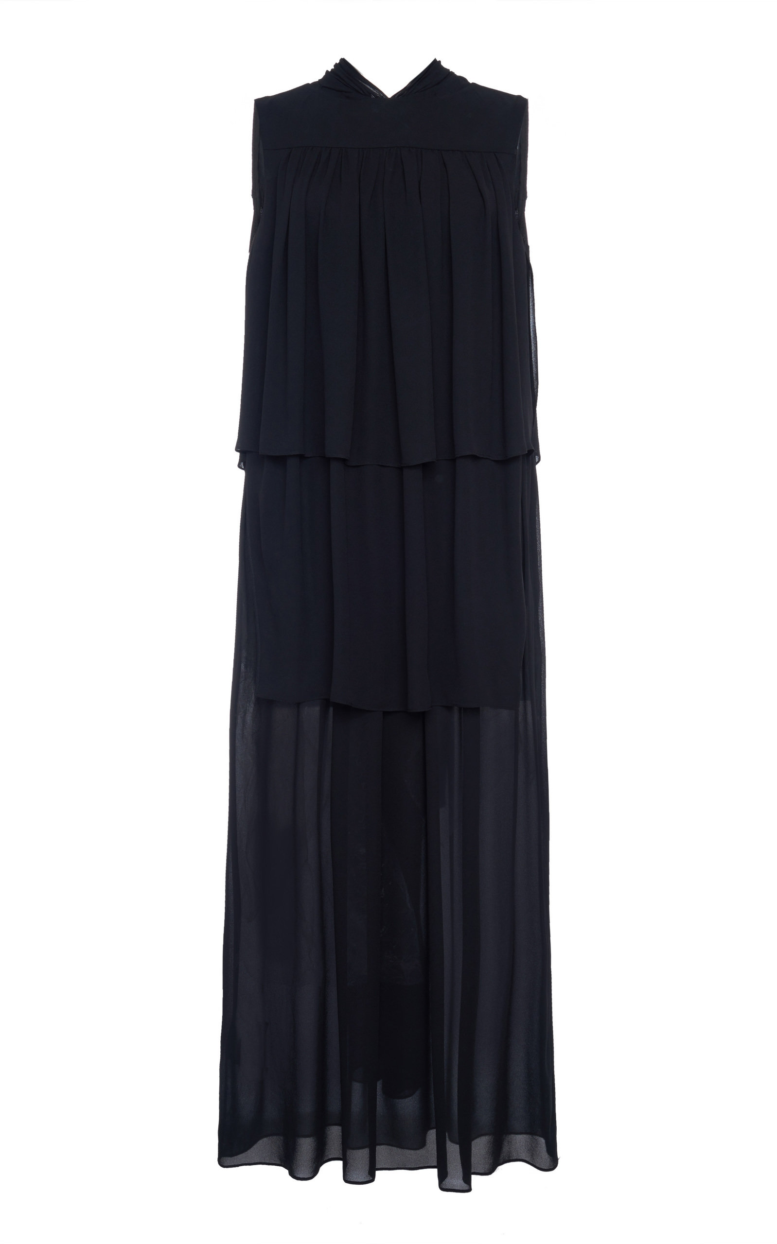 Buy Prada Tiered Crepe Midi Dress online, shop Prada at the best price