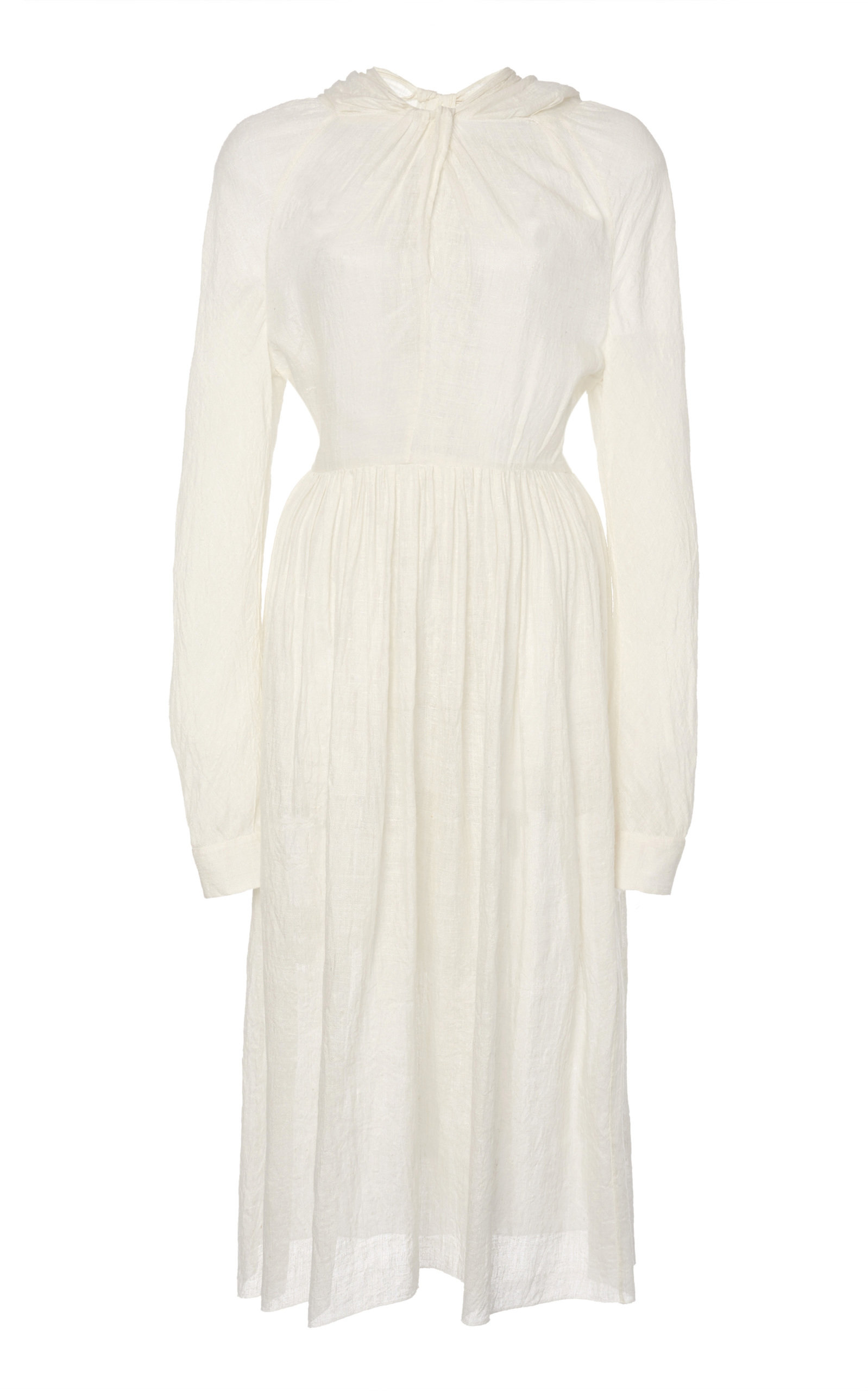 Buy Prada Draped Voile Midi Dress online, shop Prada at the best price