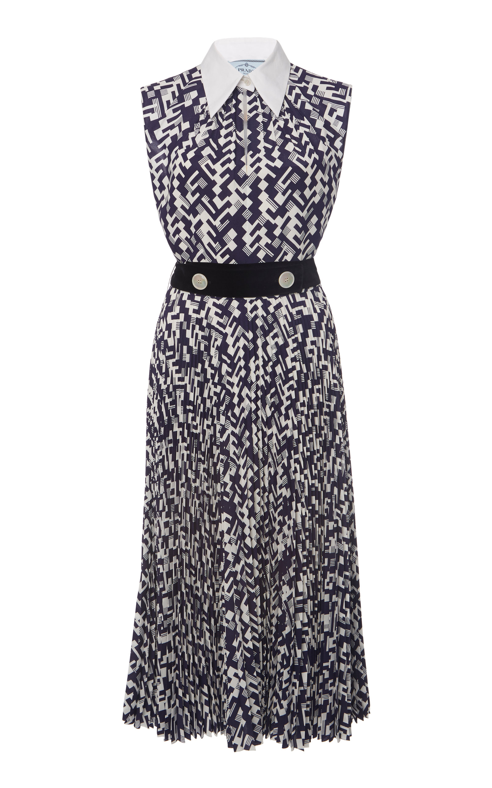 Buy Prada Printed Collared Dress online, shop Prada at the best price