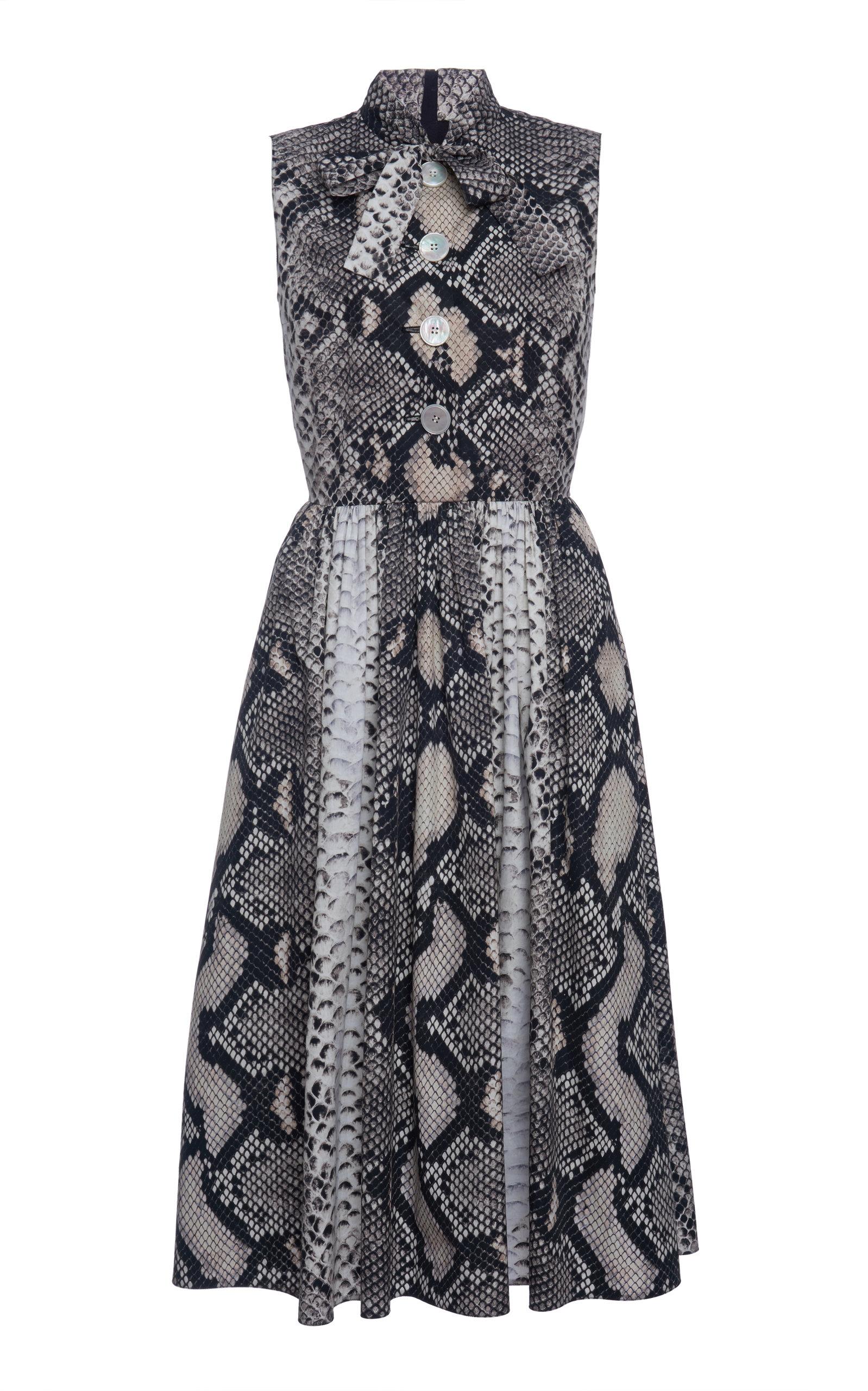 Buy Prada Animal Print Scarf Neck Dress online, shop Prada at the best price