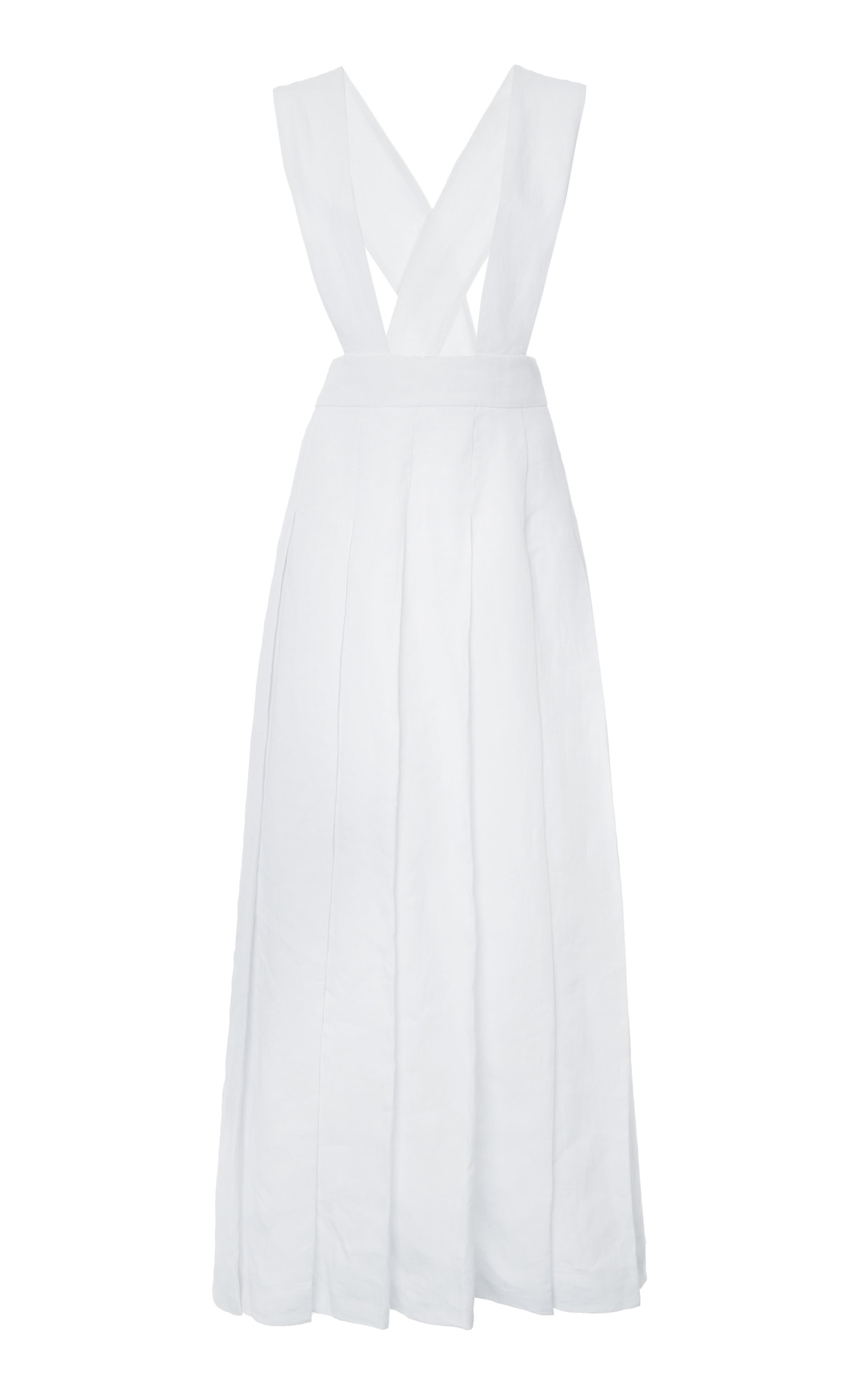 Buy Miu Miu Pleated Linen Pinafore Maxi Dress online, shop Miu Miu at the best price
