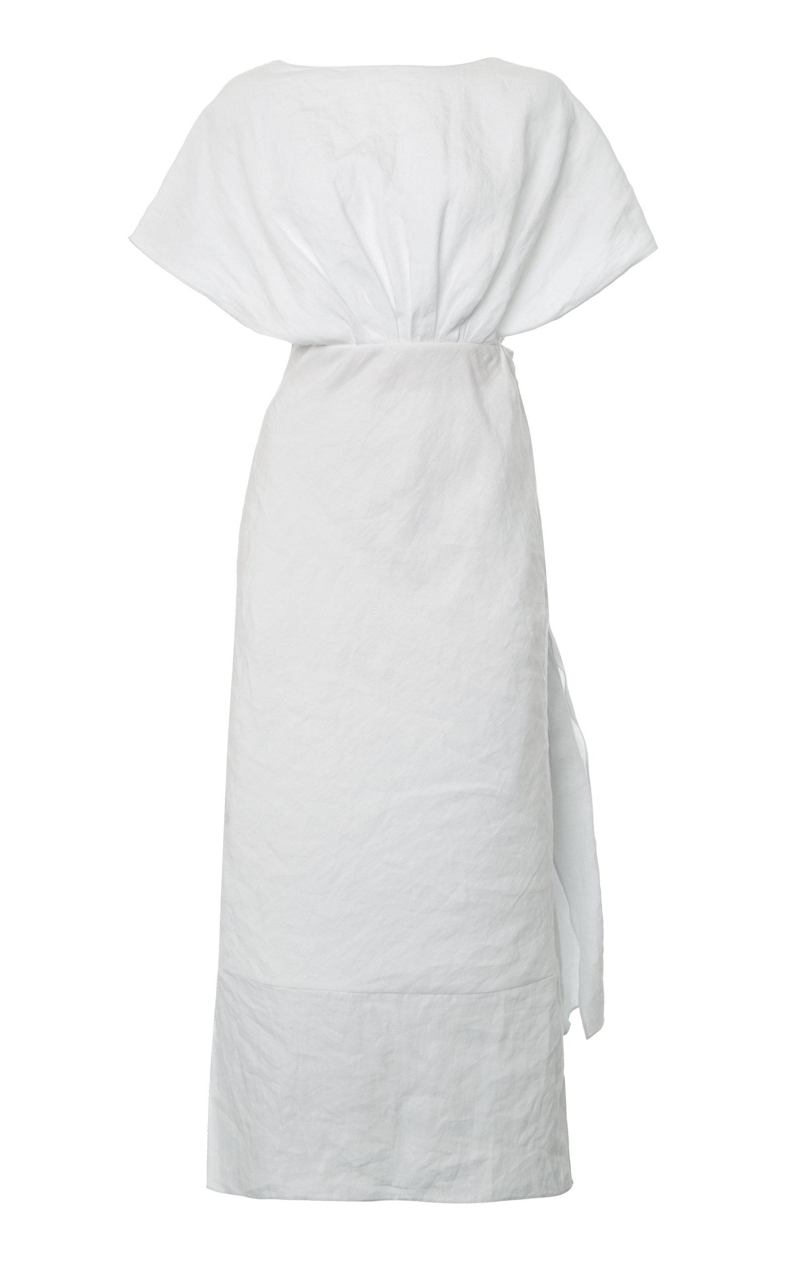 Buy Miu Miu Drape-Detailed Linen Midi Dress online, shop Miu Miu at the best price