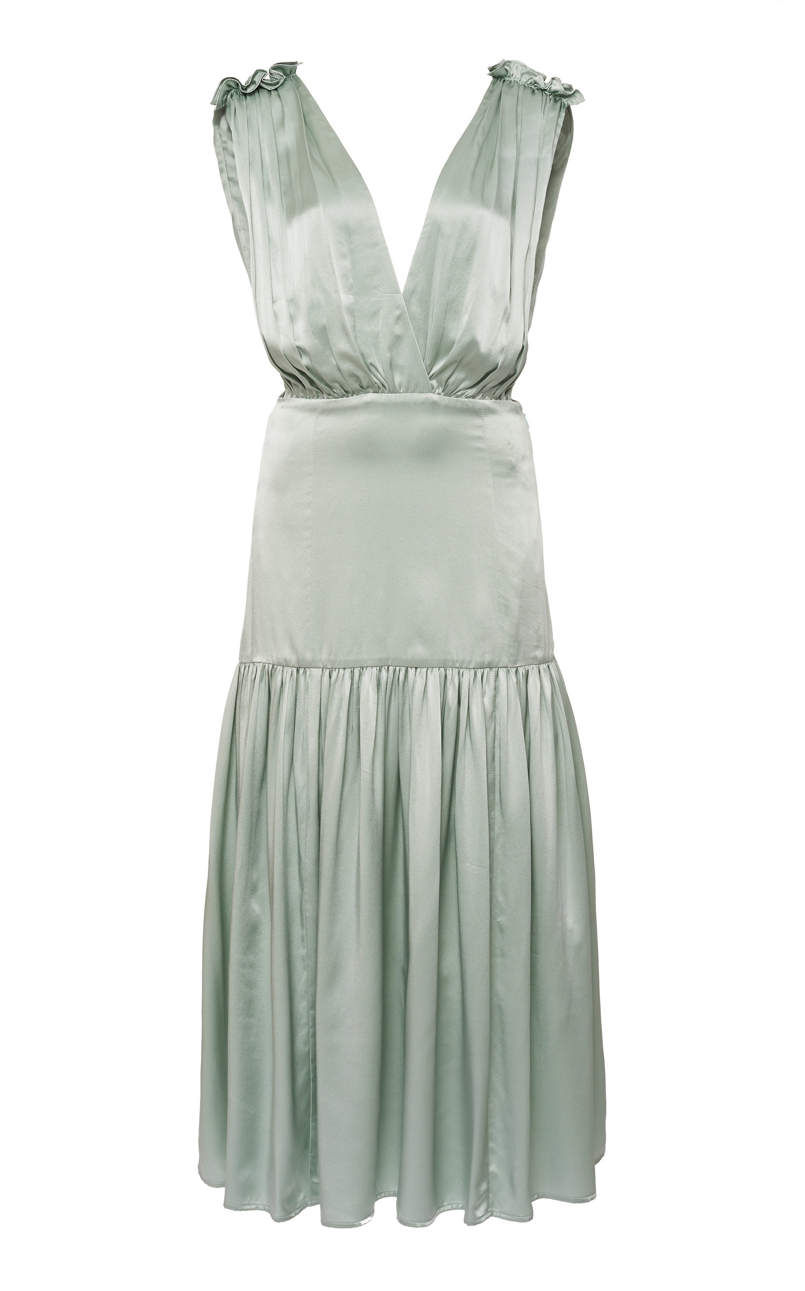 Buy Marysia Clams Gathered Satin Midi Dress online, shop Marysia at the best price
