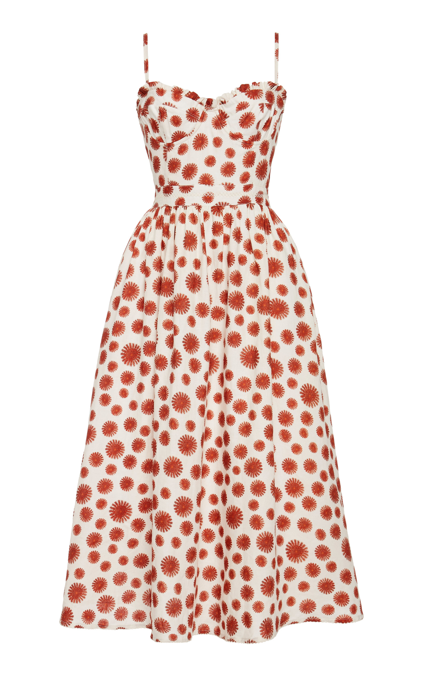 Buy Agua by Agua Bendita Acacia Erizos Printed Linen Midi Dress online, shop Agua by Agua Bendita at the best price