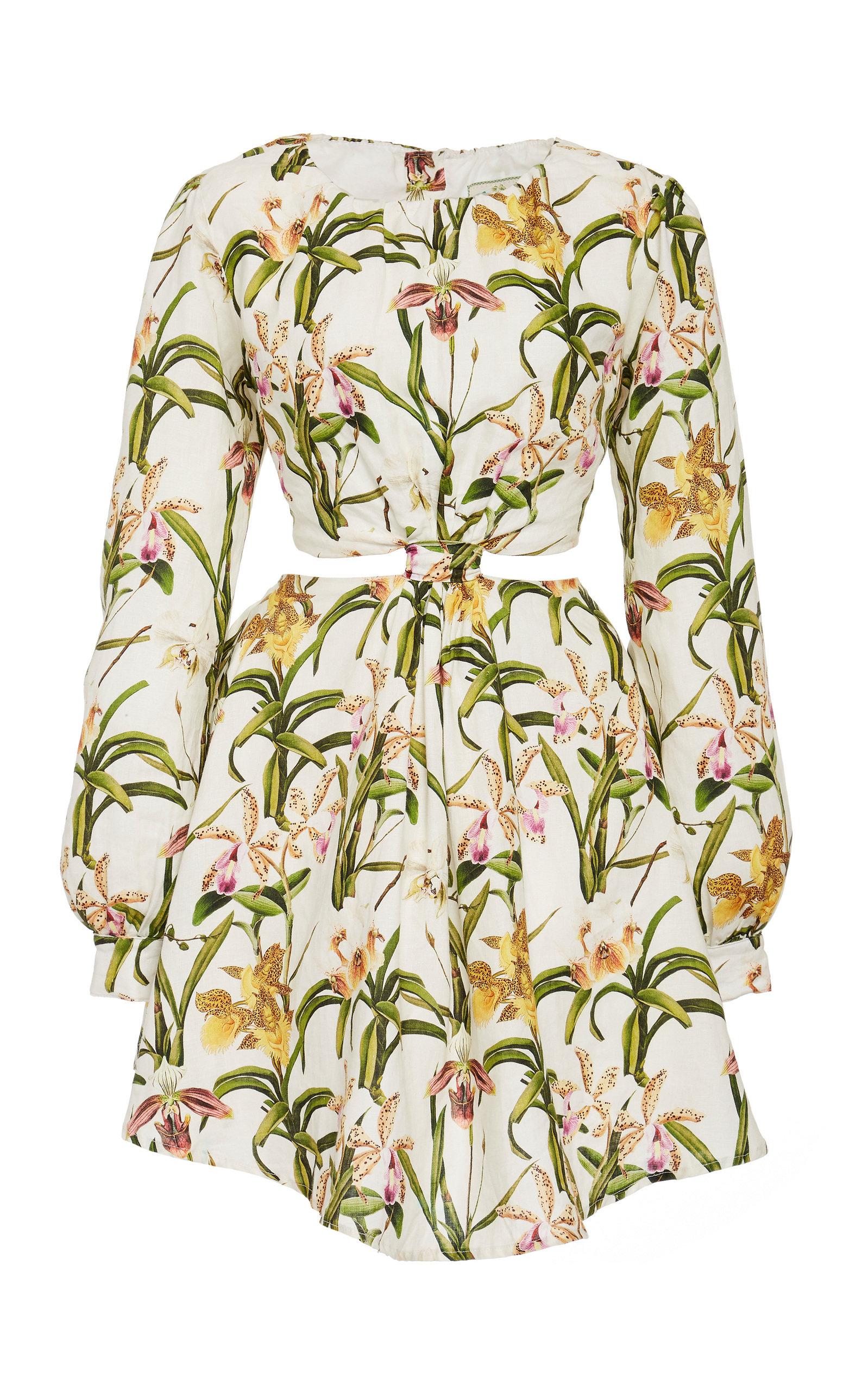 Buy Agua by Agua Bendita Parana Flora Linen Mini Dress online, shop Agua by Agua Bendita at the best price