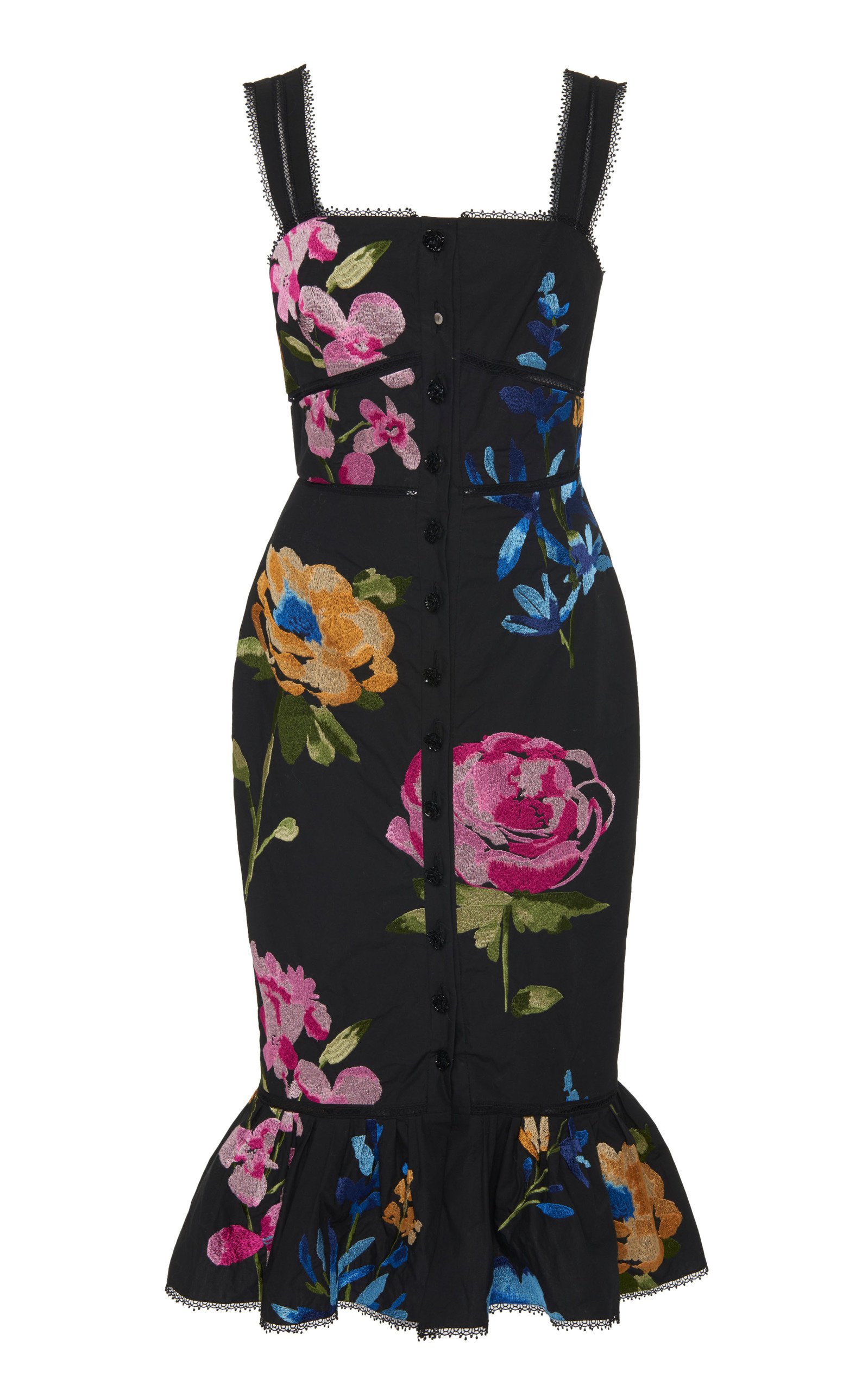 Buy Marchesa Floral Cotton Midi Dress online, shop Marchesa at the best price