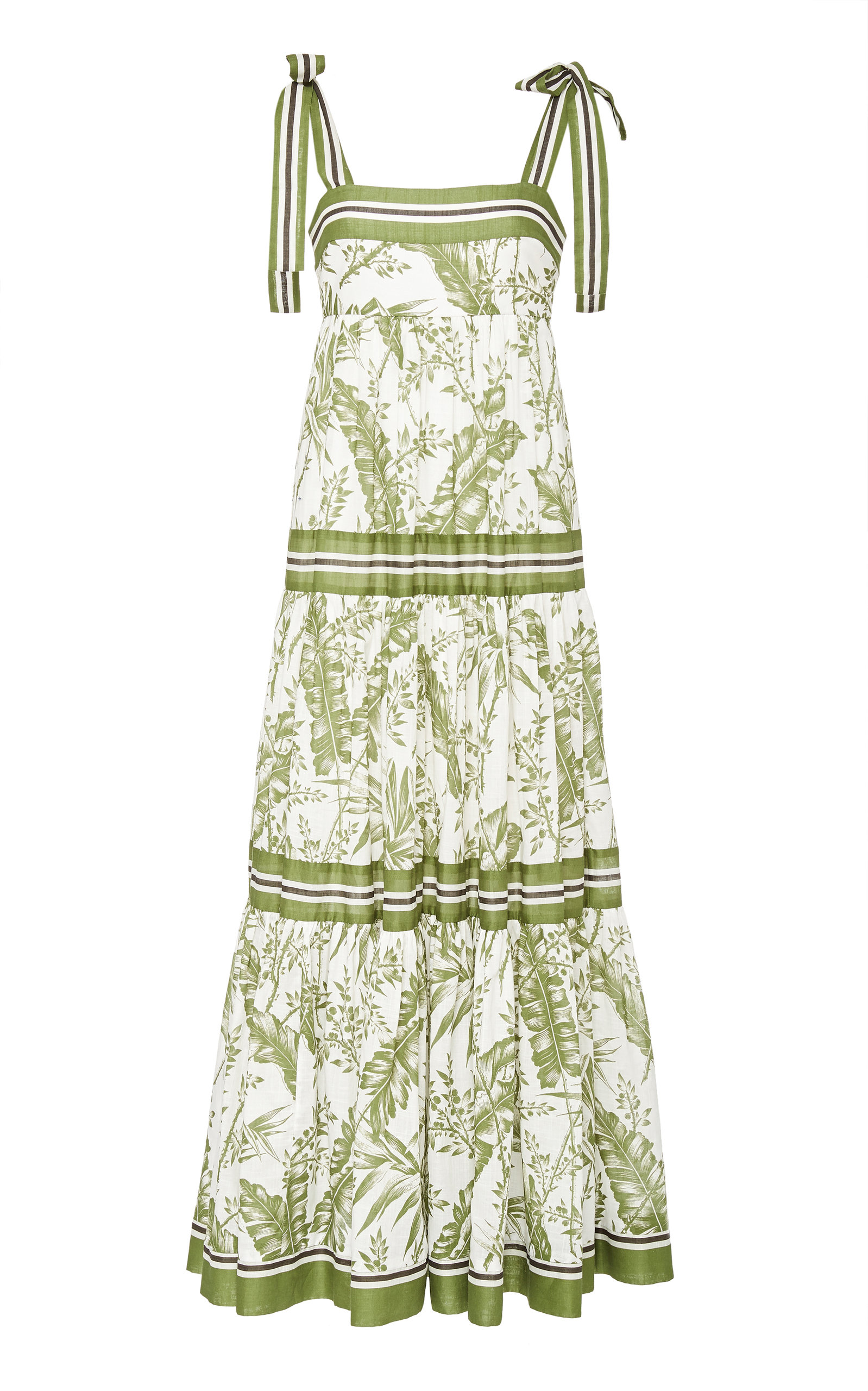 Buy Zimmermann Empire Ribbon-Trimmed Printed Cotton Maxi Dress online, shop Zimmermann at the best price