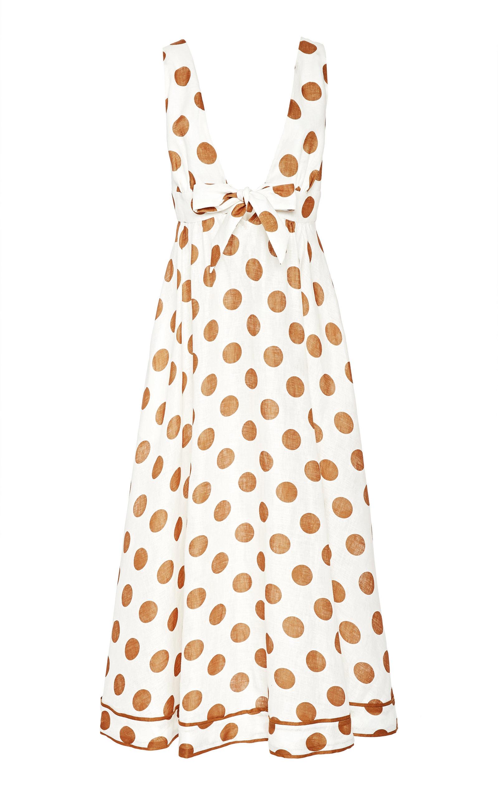 Buy Zimmermann Empire Tie-Detailed Polka-Dot Cotton Maxi Dress online, shop Zimmermann at the best price