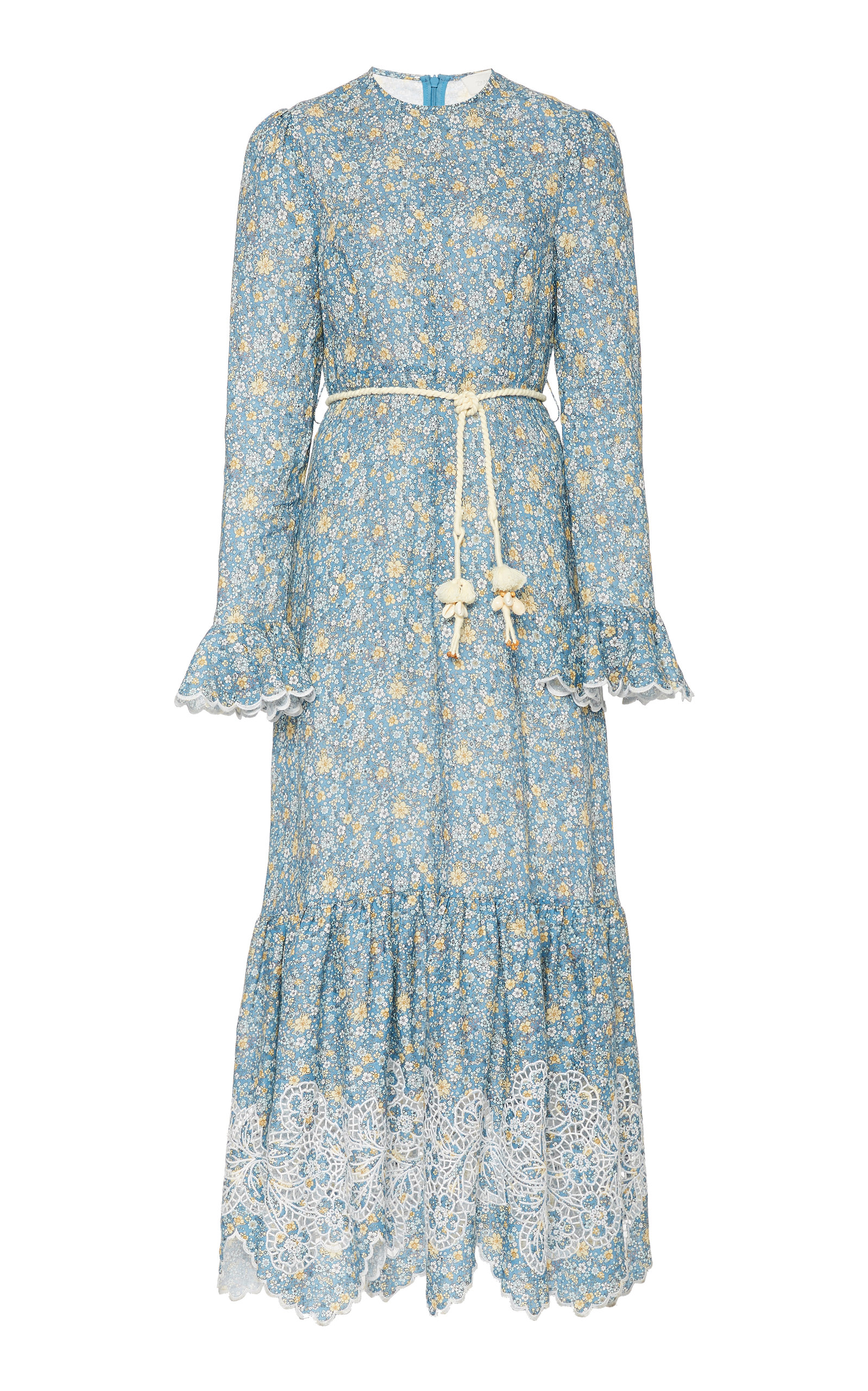 Buy Zimmermann Carnaby Belted Floral Linen Maxi Dress online, shop Zimmermann at the best price