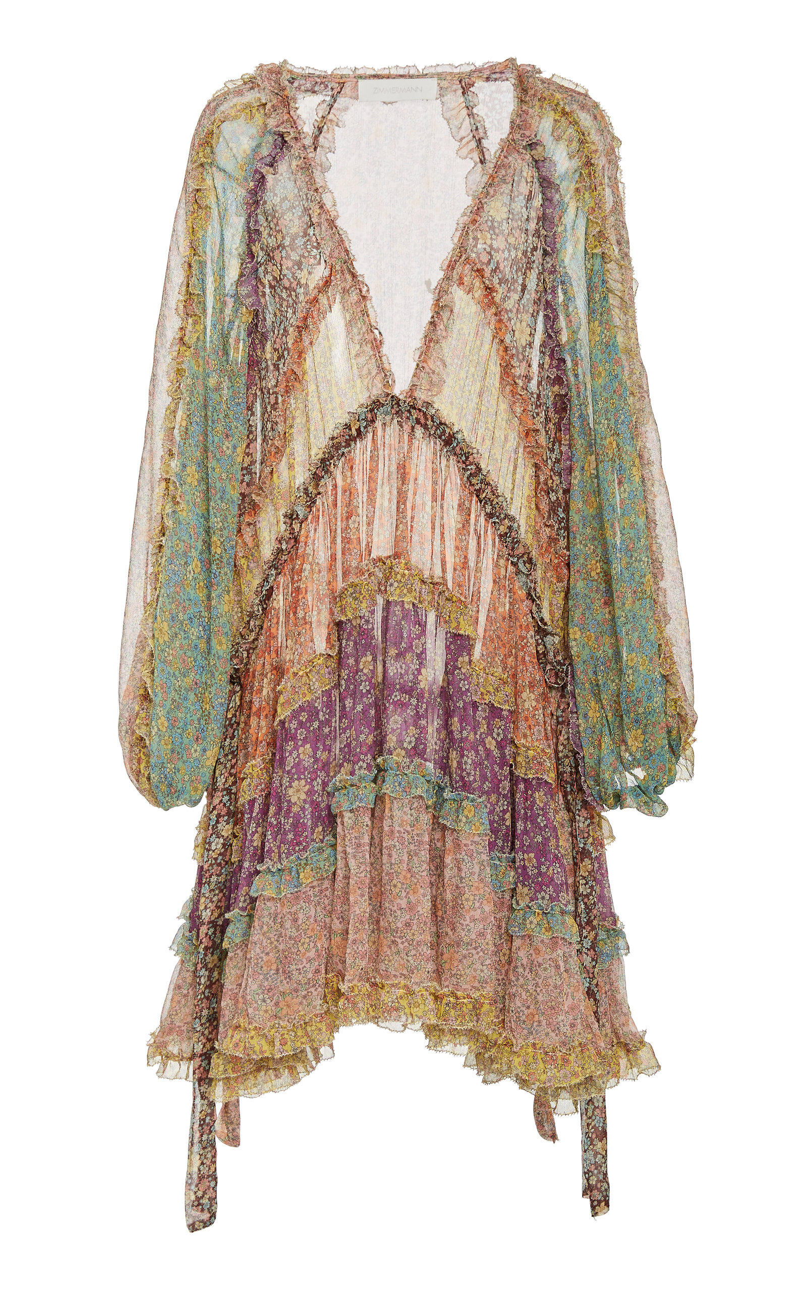 Buy Zimmermann Carnaby Tiered Floral Silk Mini Dress online, shop Zimmermann at the best price