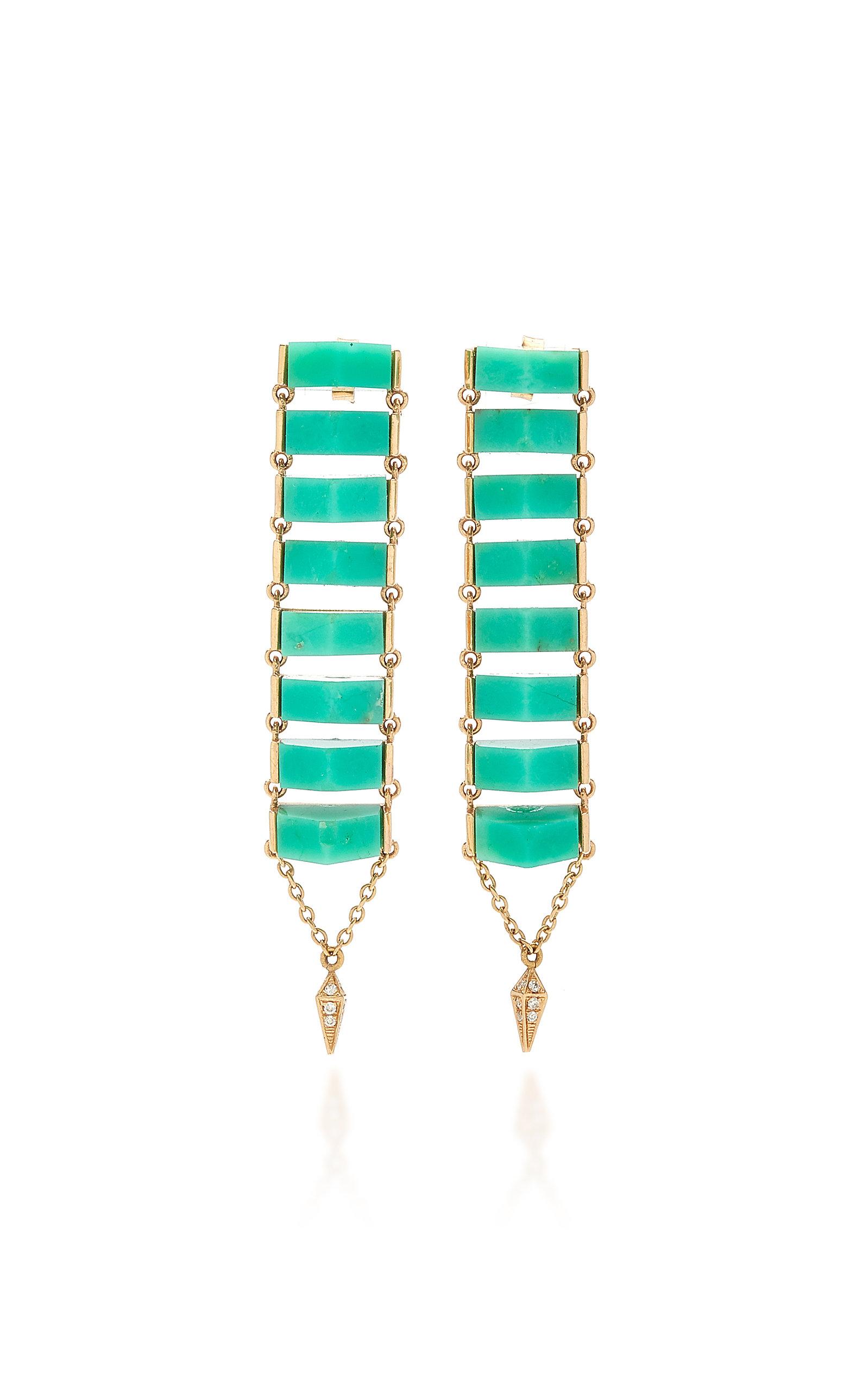 Women's Chrysoprase and Rose-Gold Ladder Earrings