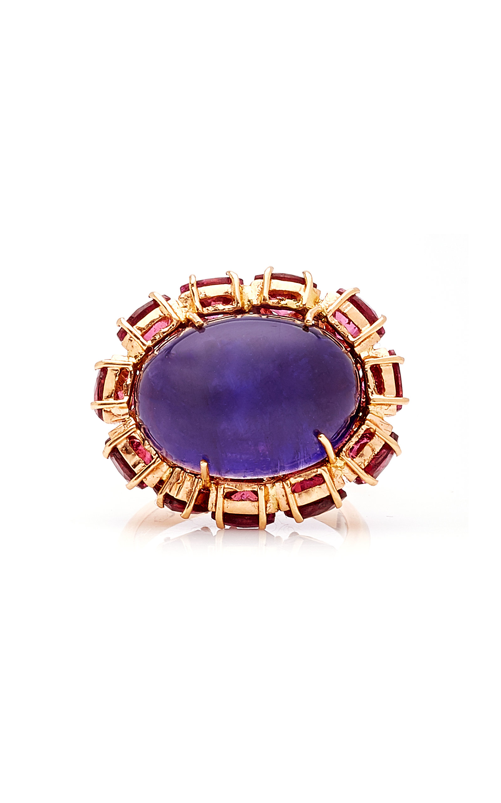 Women's Iolite; Rhodolite and Cabochon Ring