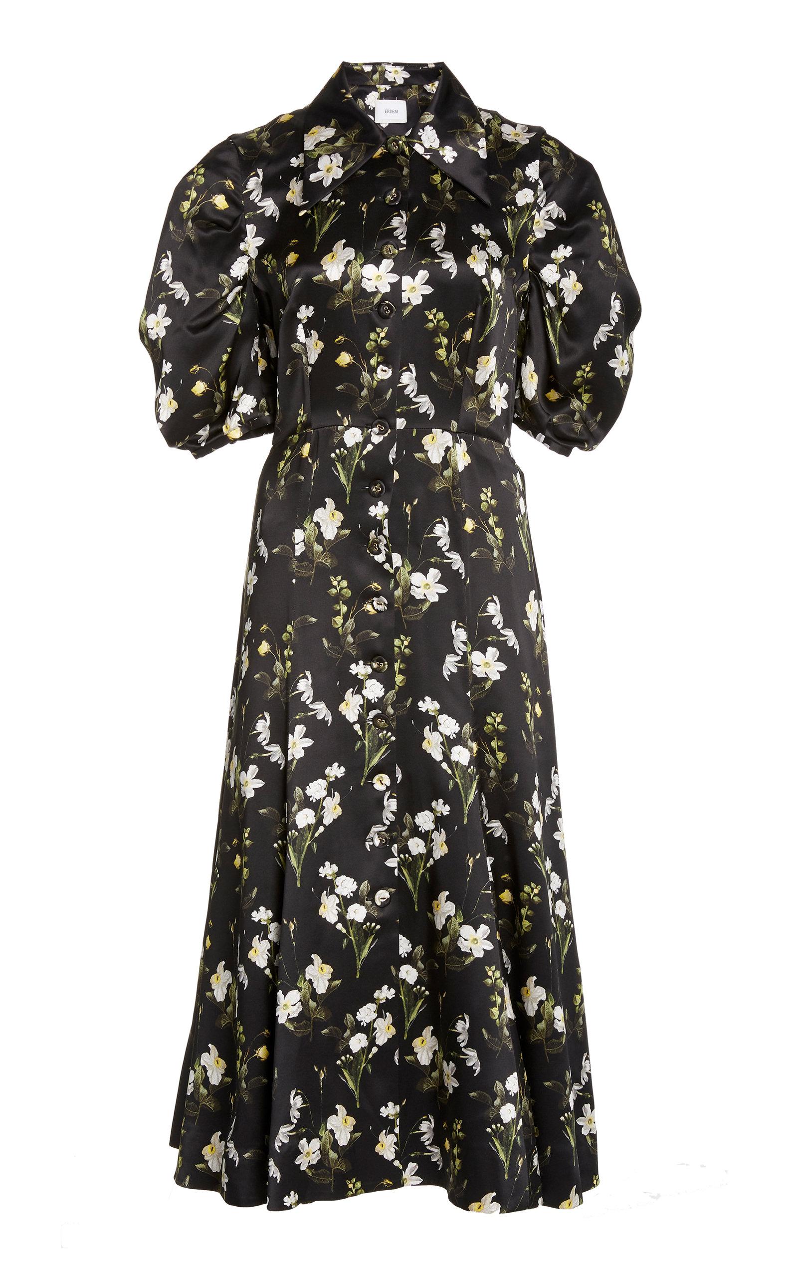 Buy Erdem Gisella Floral-Print Silk Dress online, shop Erdem at the best price