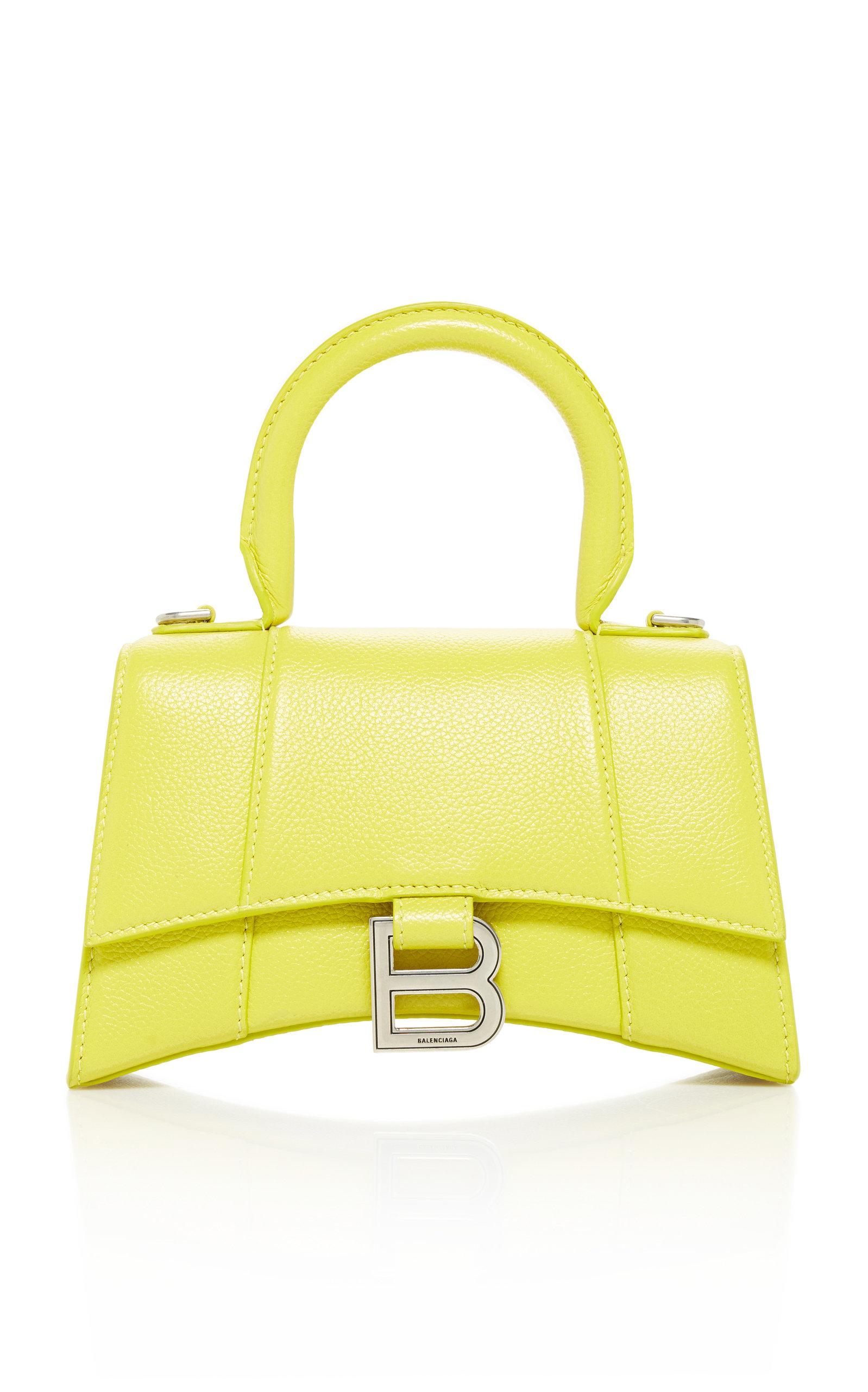 Balenciaga HOURGLASS XS EMBELLISHED TEXTURED-LEATHER TOP HANDLE BAG