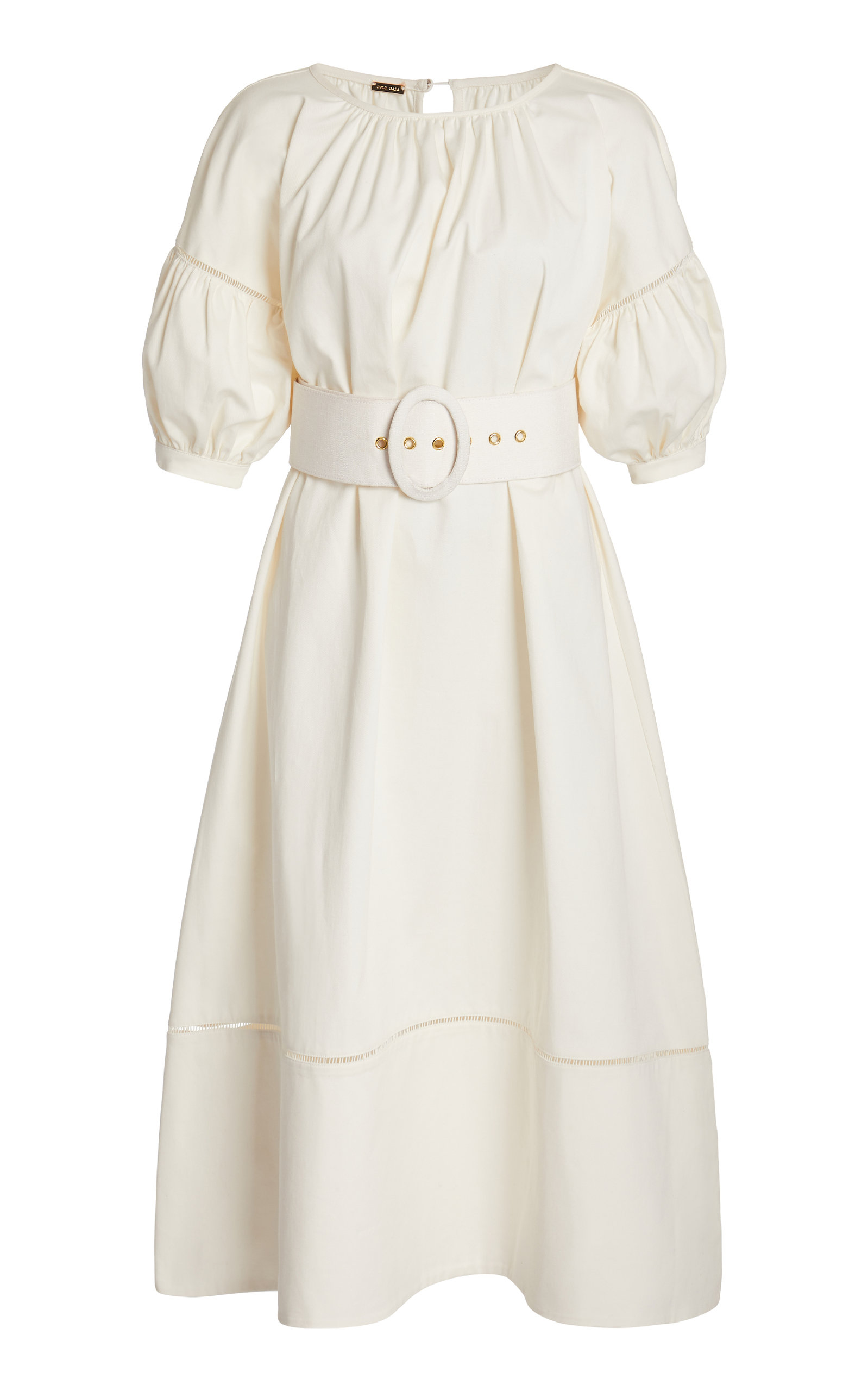 Buy Cult Gaia Aiko Gathered Belted Linen-Blend Midi Dress online, shop Cult Gaia at the best price