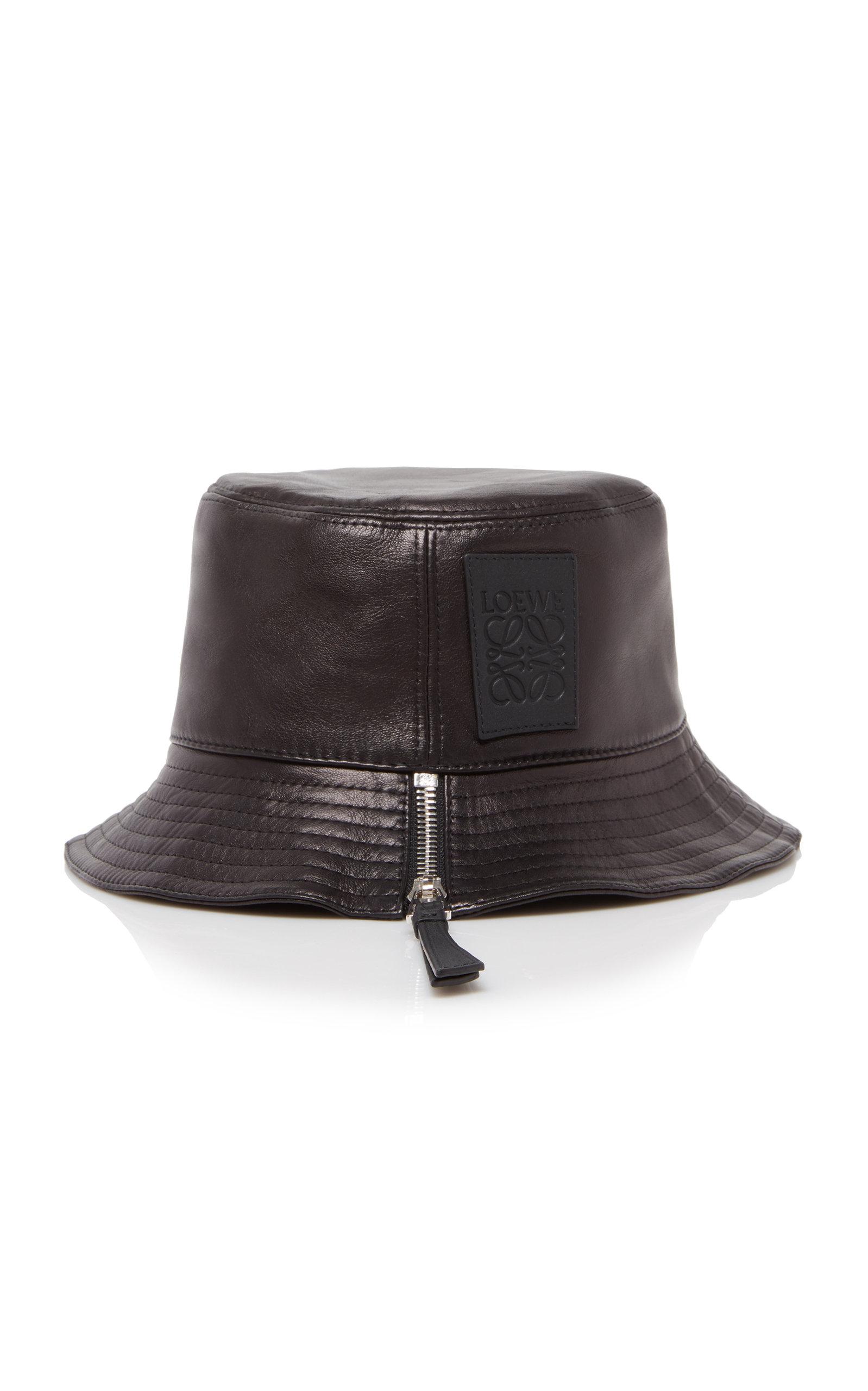 Loewe FISHERMAN ZIP-DETAILED LEATHER BUCKET HAT
