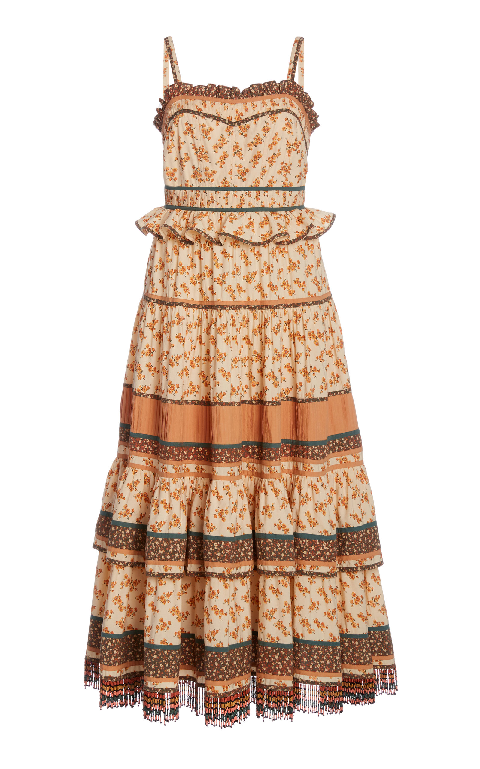 Buy Ulla Johnson Cecilie Fringed Floral-Print Cotton Midi Dress online, shop Ulla Johnson at the best price