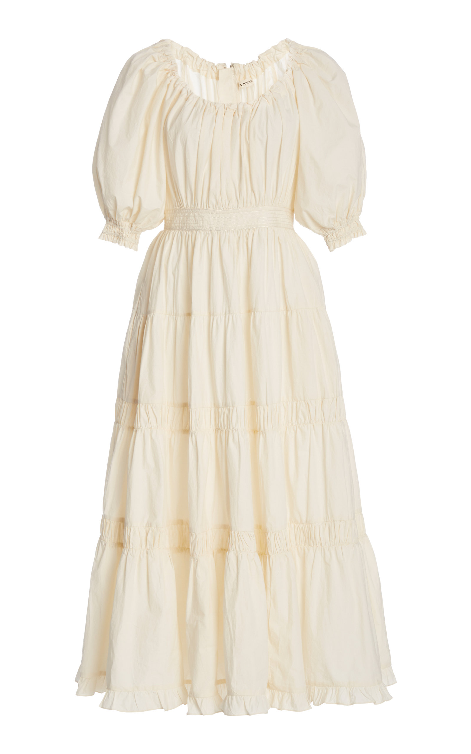 Buy Ulla Johnson Colette Shirred Cotton Midi Dress online, shop Ulla Johnson at the best price