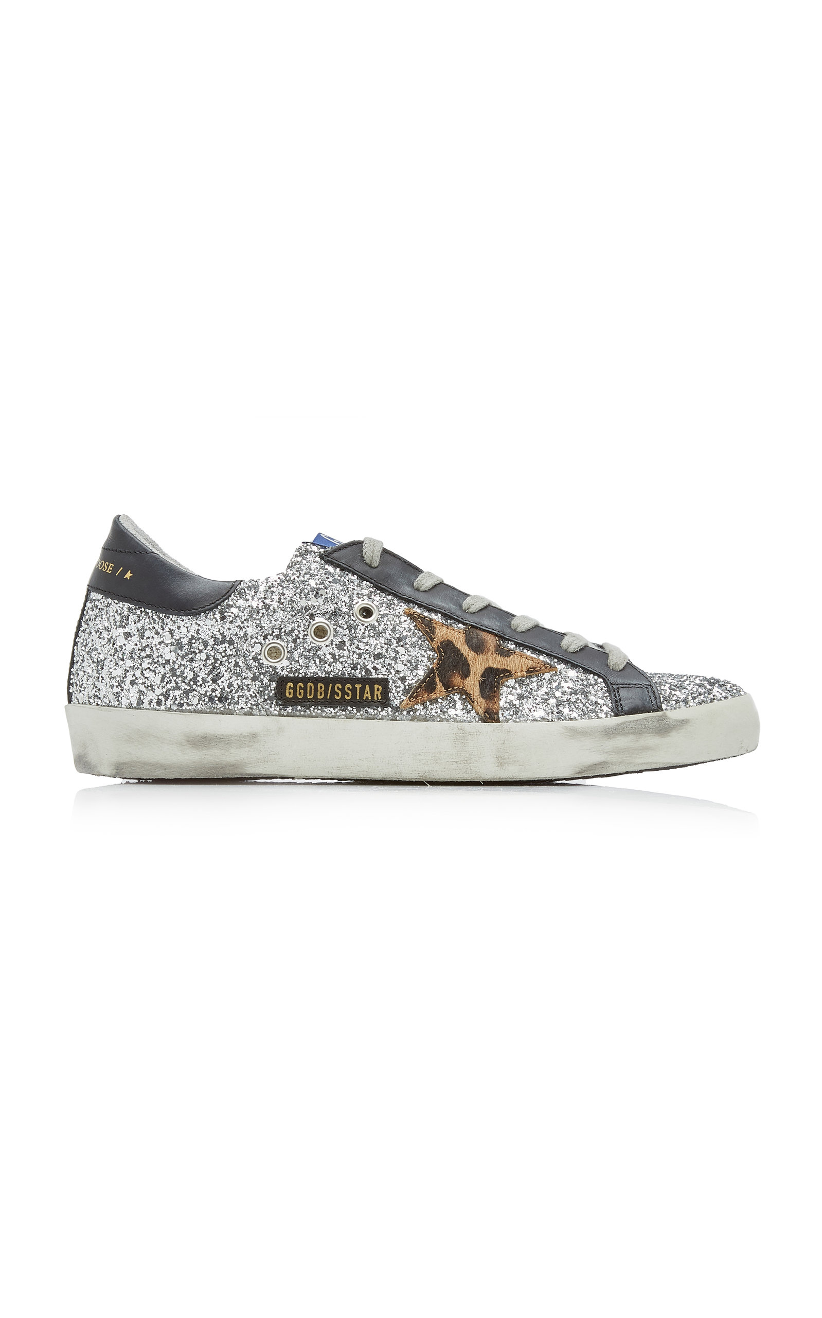 Golden Goose - Women's Superstar Glitter Leather Sneakers  - Silver - Moda Operandi
