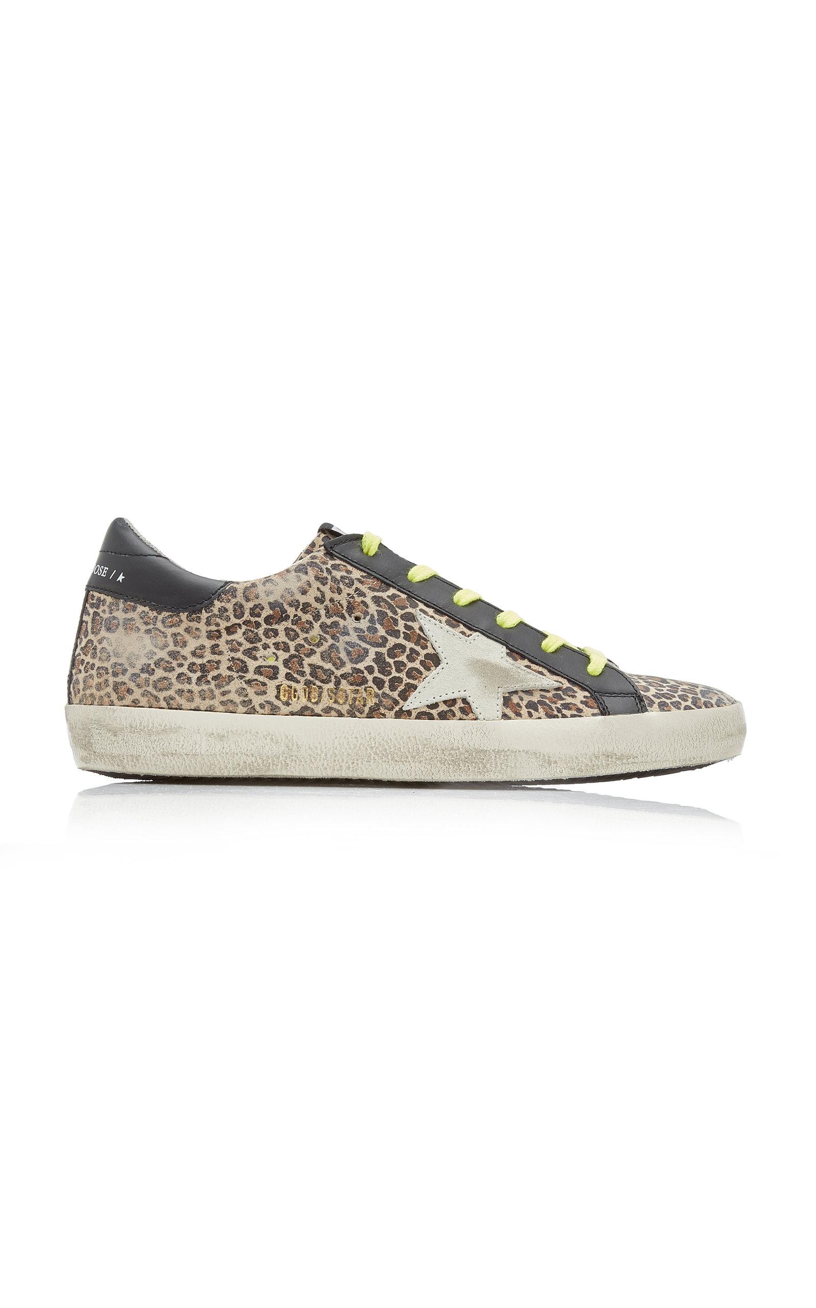 Golden Goose - Women's Superstar Distressed Leopard Leather Sneakers  - Animal - Moda Operandi