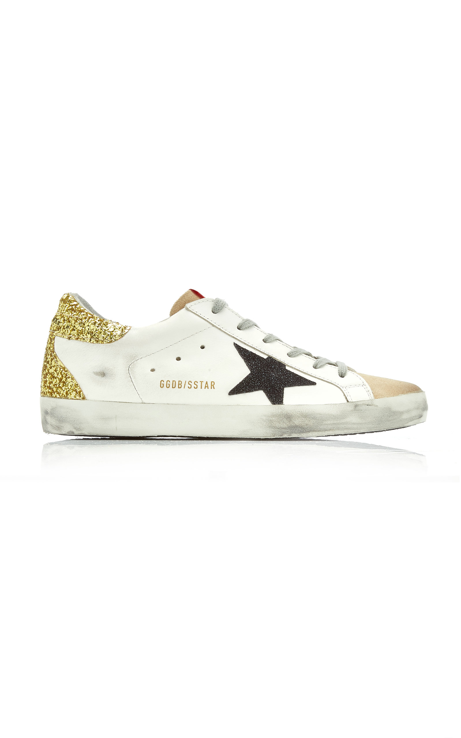 Golden Goose - Women's Superstar Glitter-Detail Leather Sneakers  - Multi - Moda Operandi