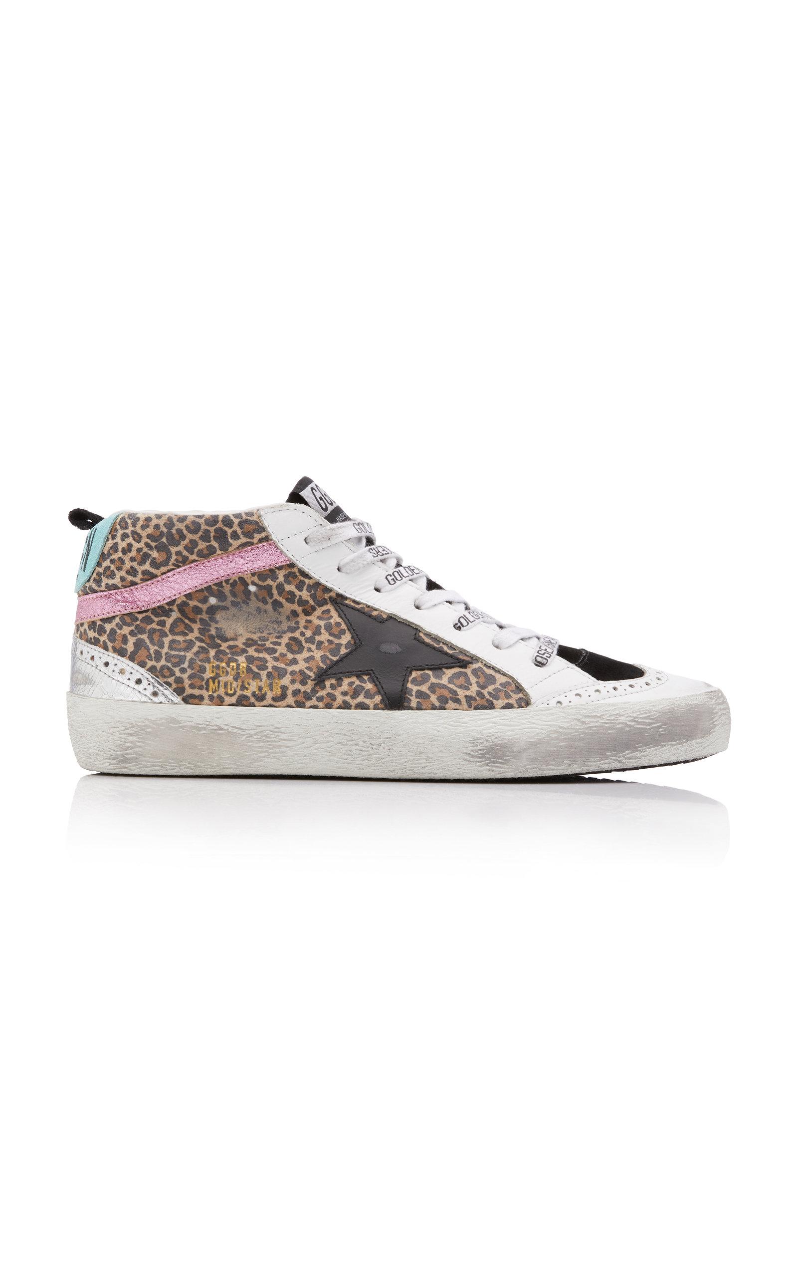 Golden Goose - Women's Mid-Star Leopard Leather Sneakers - Multi - Moda Operandi