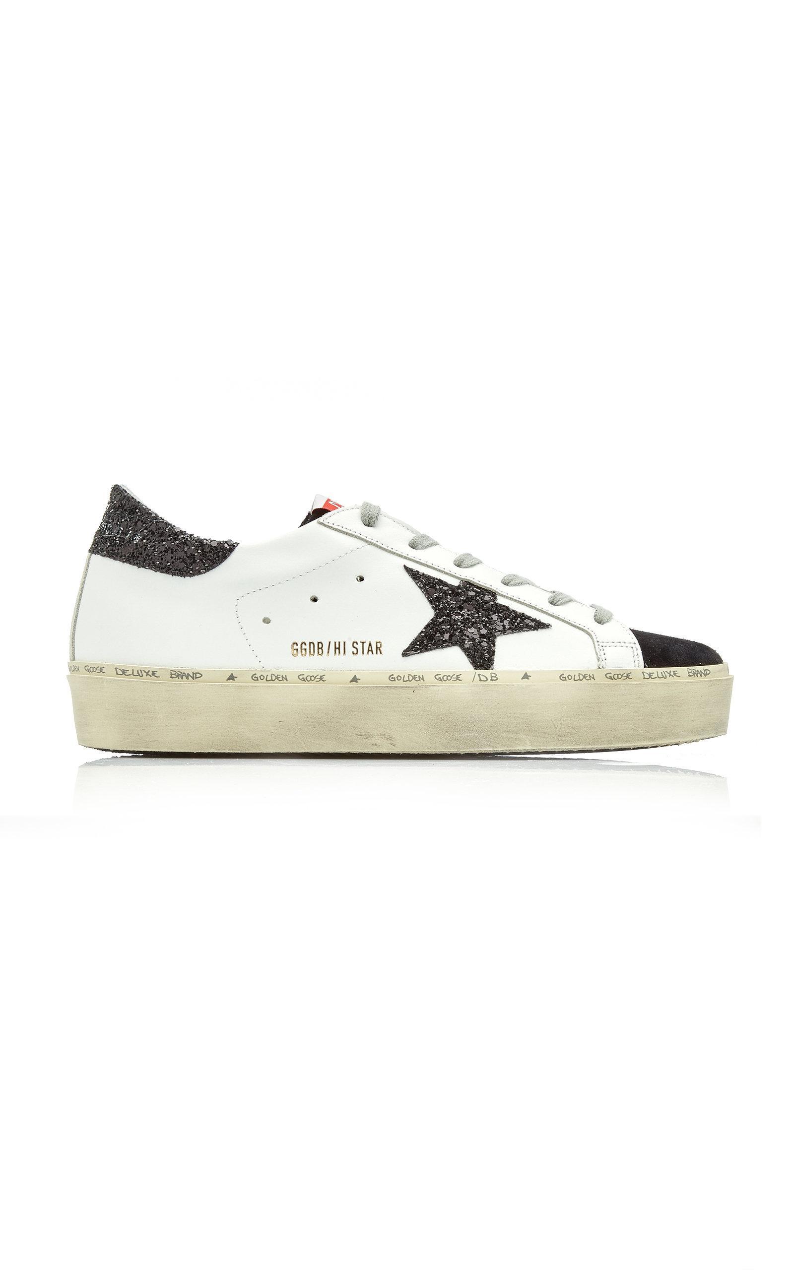 Golden Goose - Women's Hi-Star Leather Sneakers - Black/white - Moda Operandi