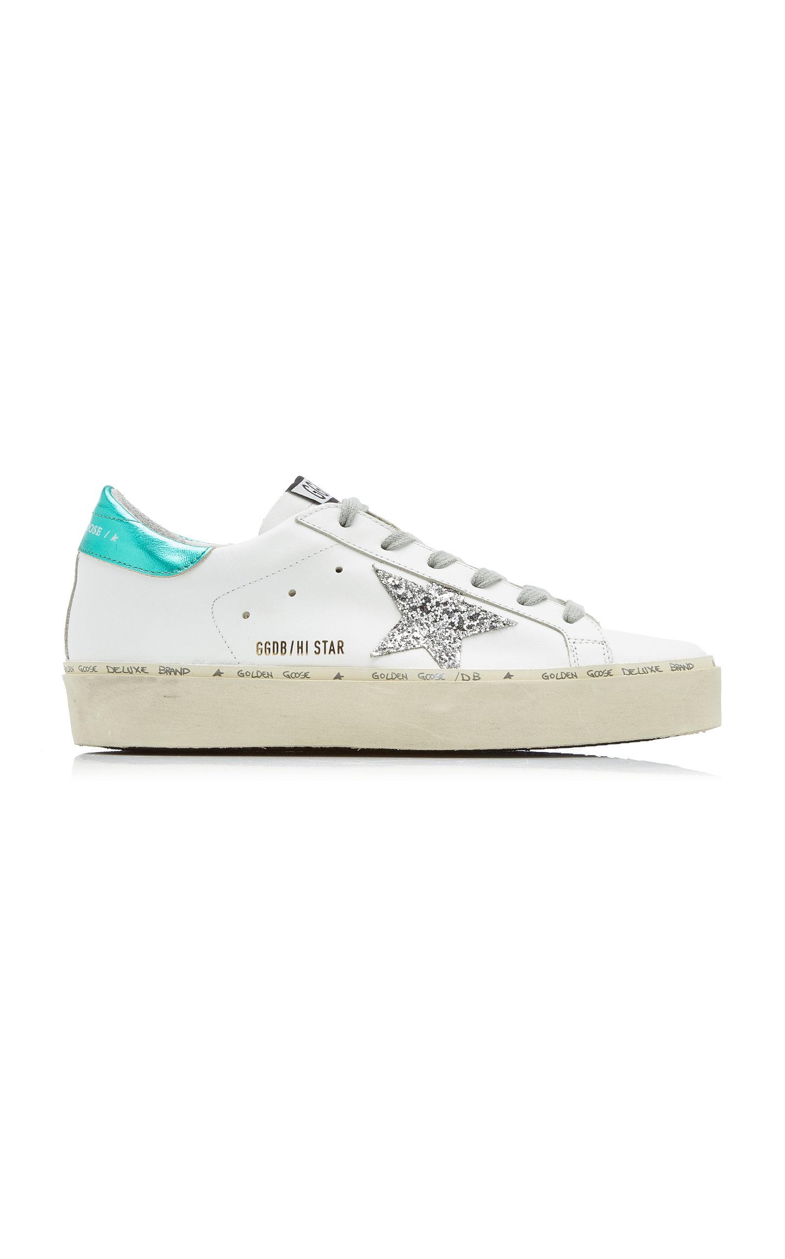Golden Goose - Women's Hi Star Glitter-Detail Leather Sneakers - White - Moda Operandi