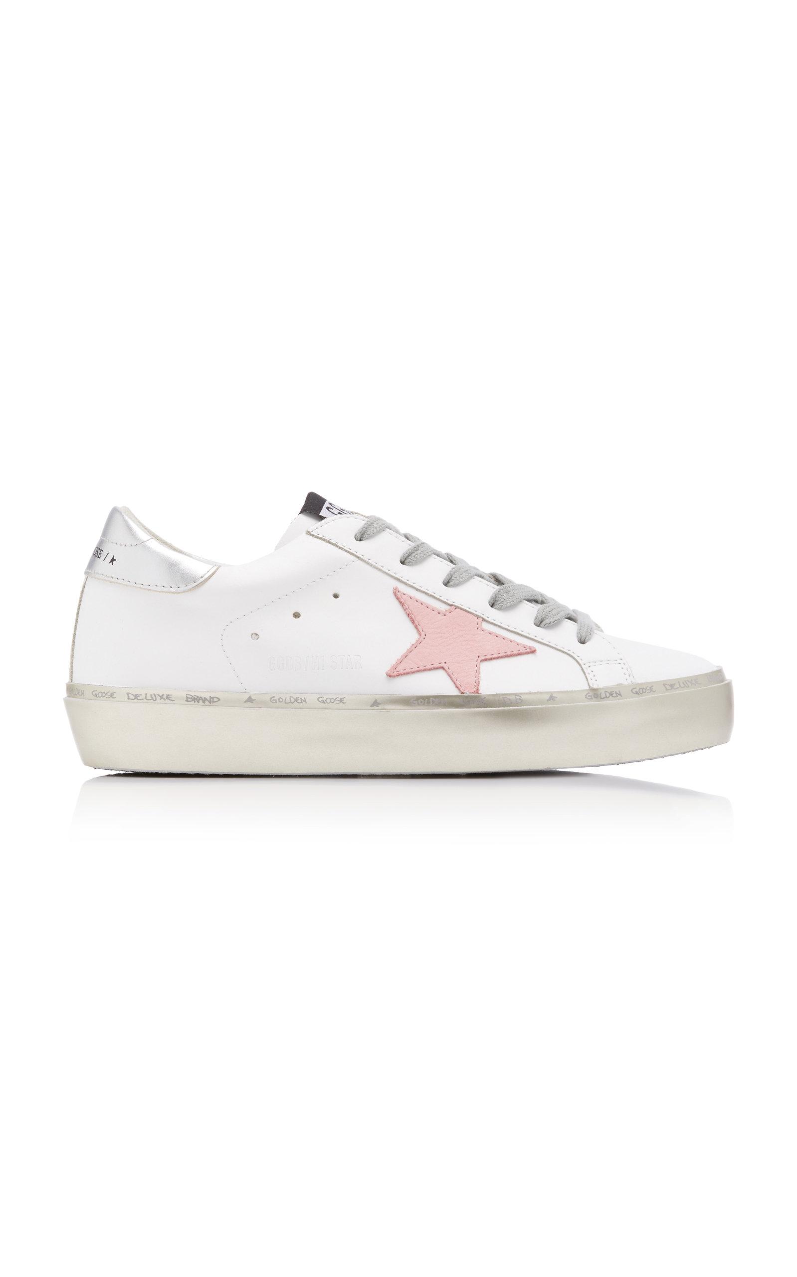 Golden Goose - Women's Hi Star Platform Leather Sneakers - White - Moda Operandi
