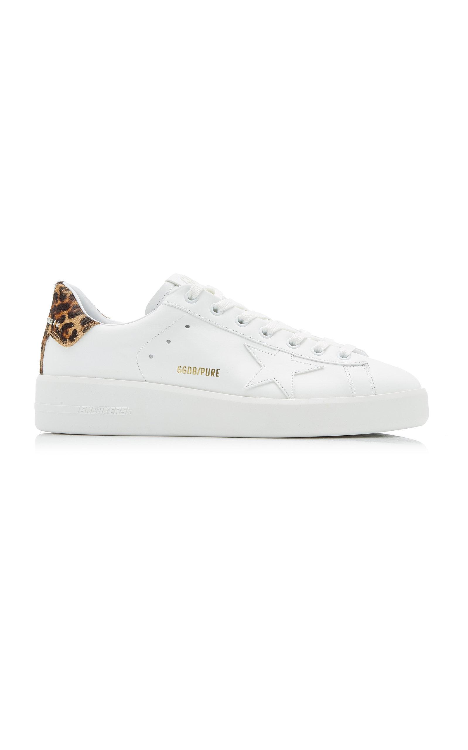 Golden Goose - Women's Pure Star Leopard Calf Hair And Leather Sneakers - White - Moda Operandi