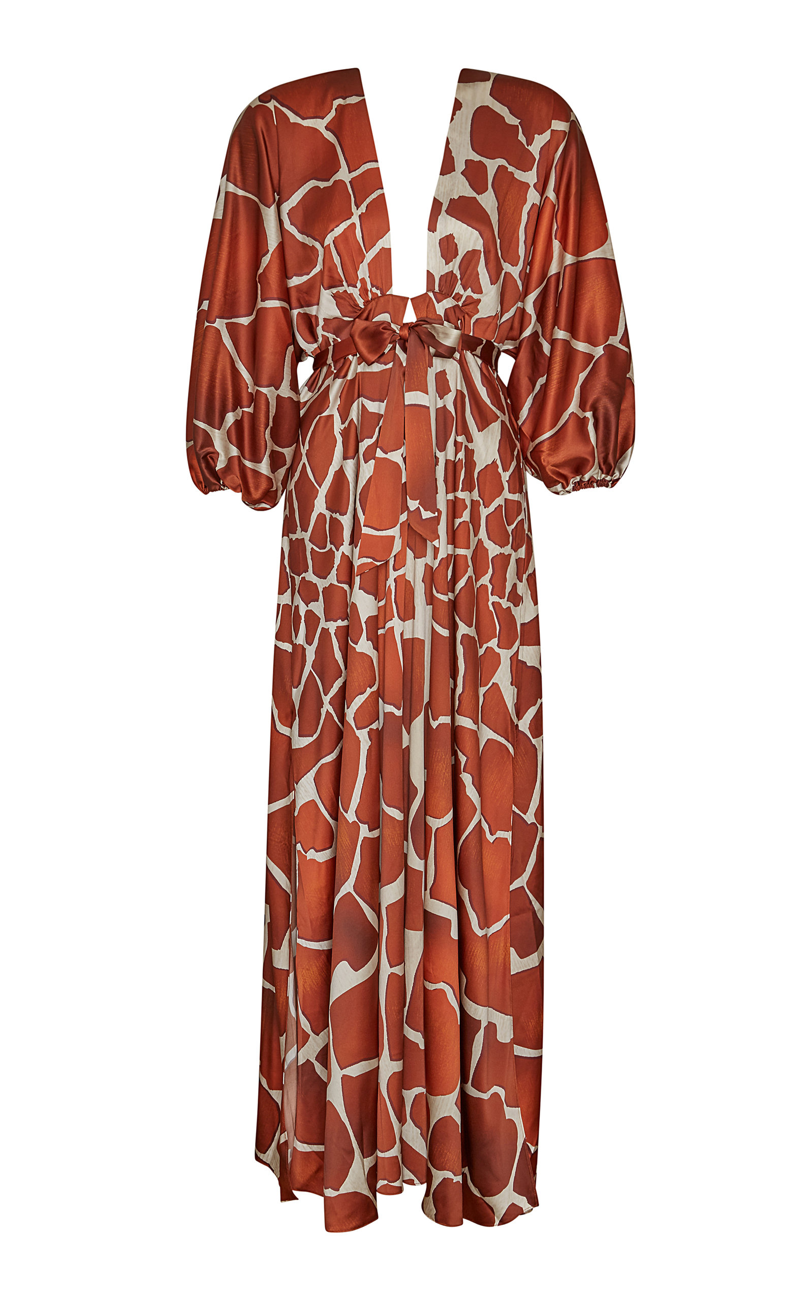 Retroféte LILA ANIMAL PRINT CREPE DE CHINE MAXI DRESS