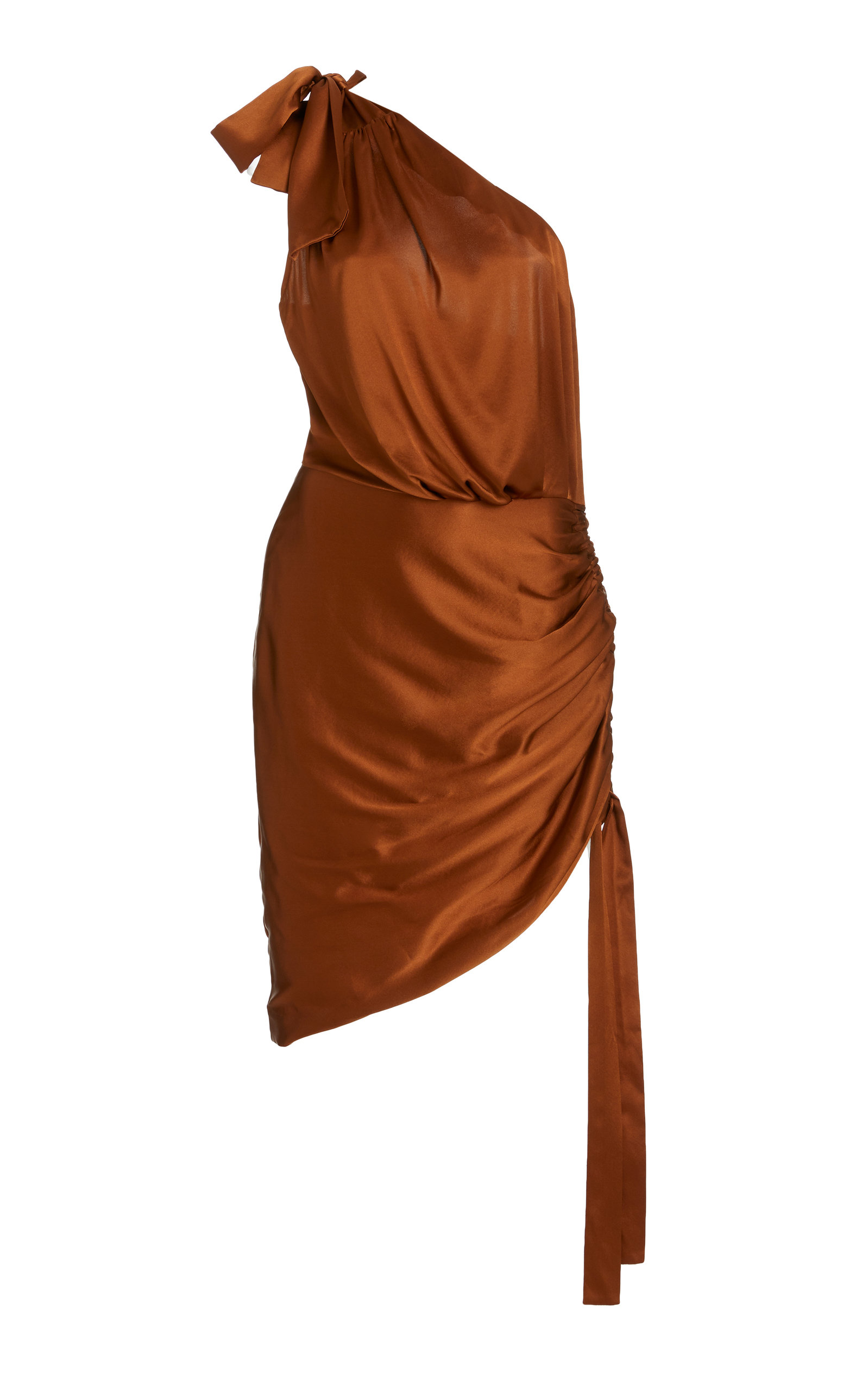 Retroféte NADIA ONE-SHOULDER STRETCH-SILK MINI DRESS