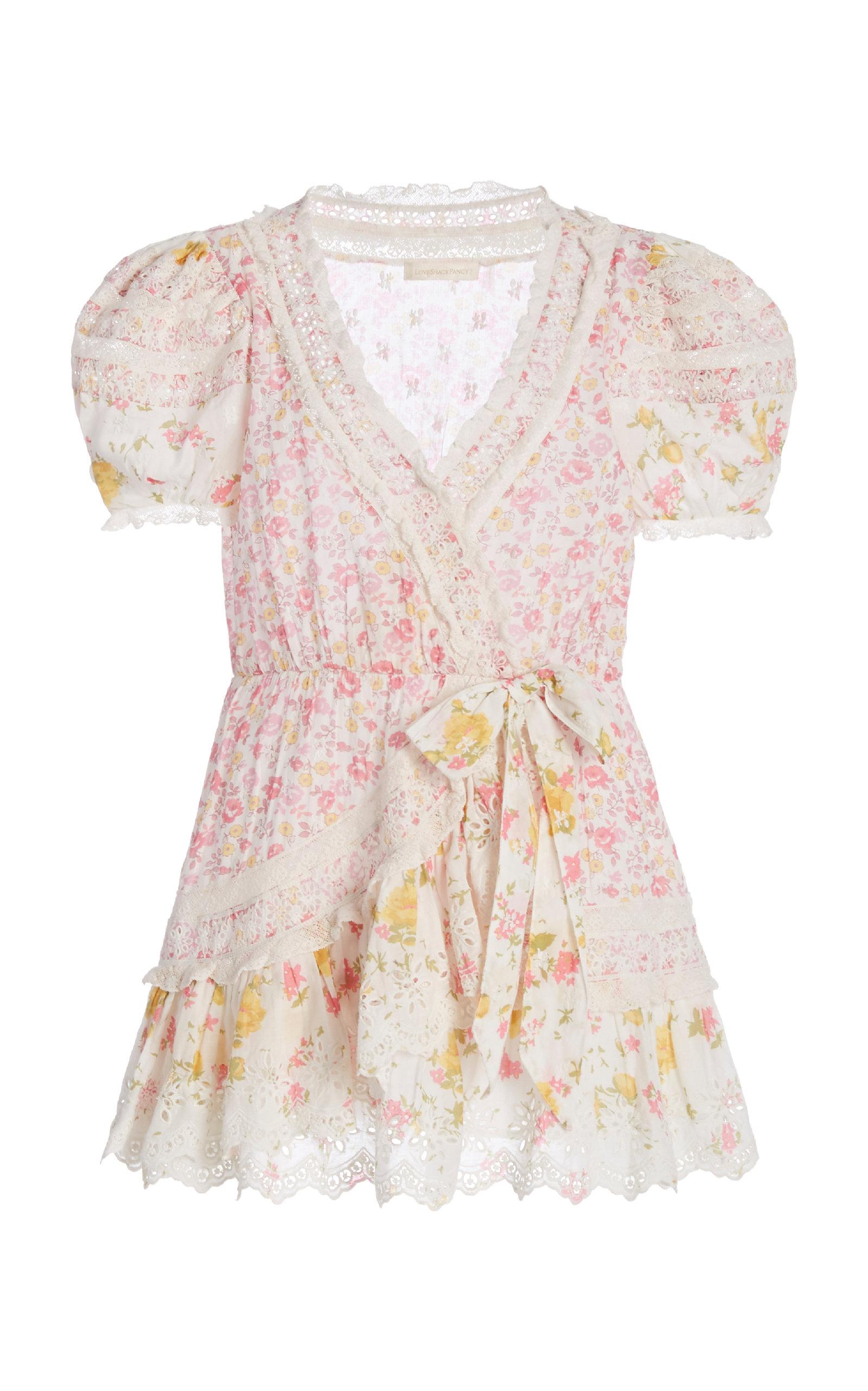 Buy LoveShackFancy Belen Patchwork Floral Cotton Wrap Mini Dress online, shop LoveShackFancy at the best price