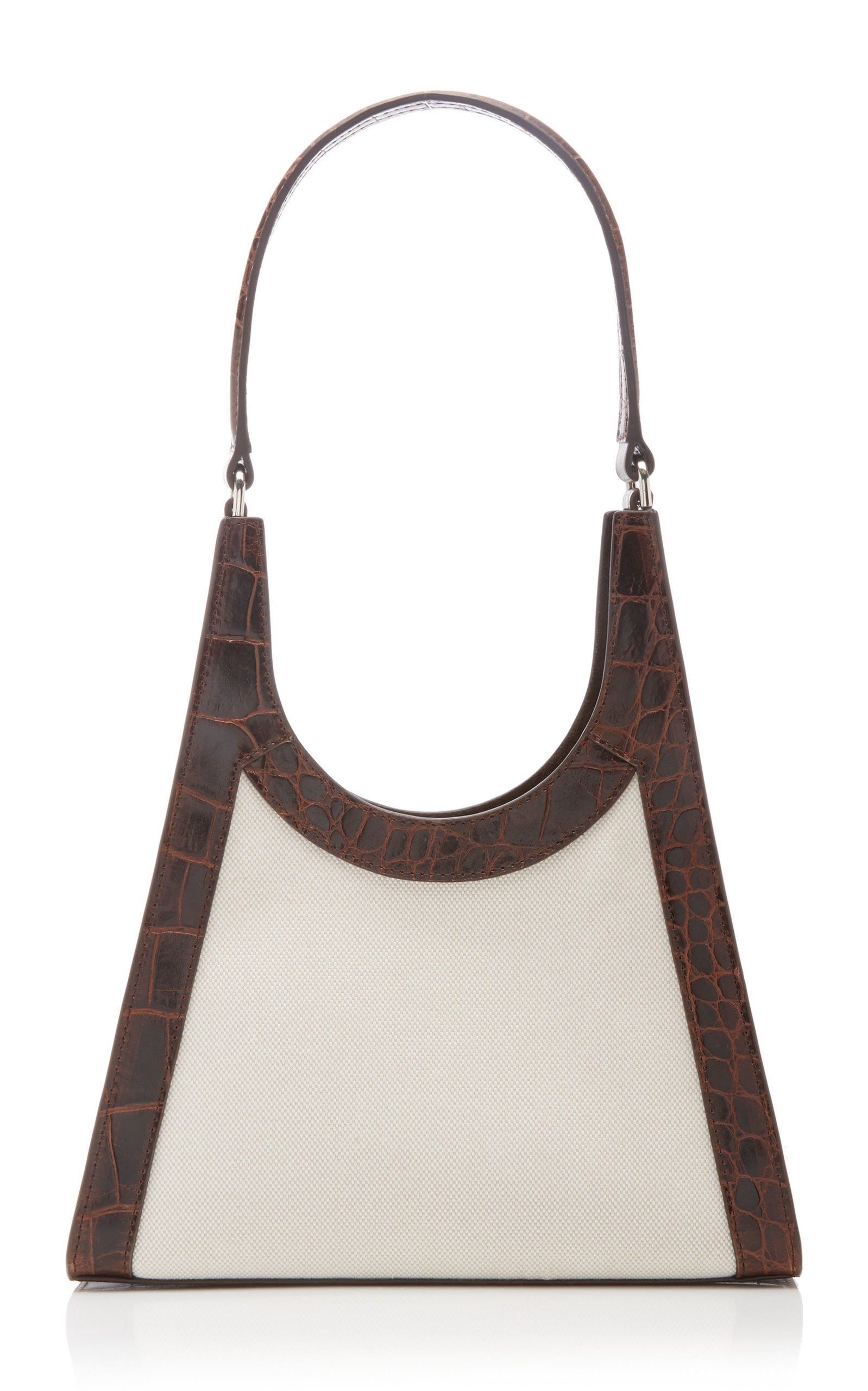 Staud REY CANVAS AND CROC-EFFECT LEATHER SHOULDER BAG
