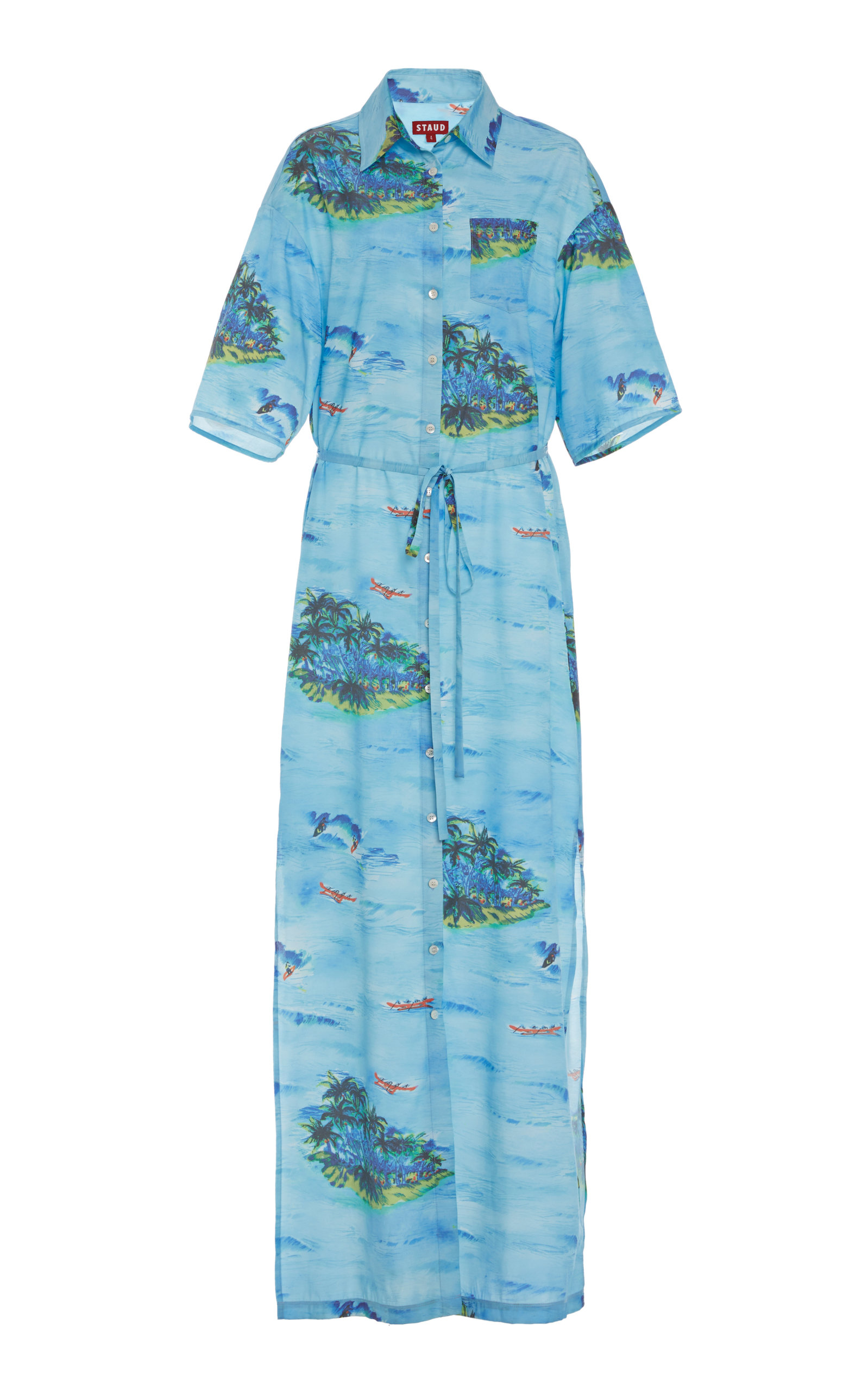 Buy Staud Cameron Printed Rayon Shirt Dress online, shop Staud at the best price