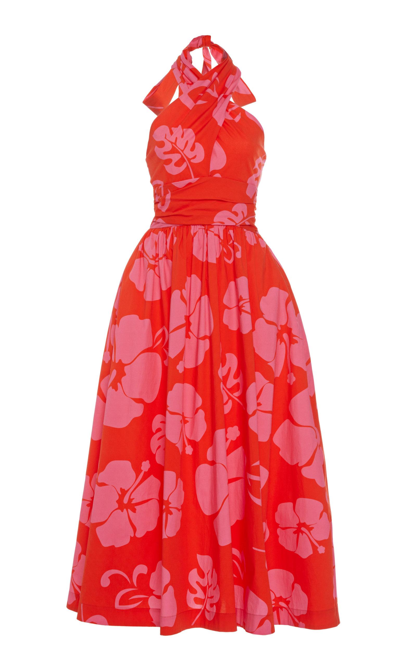 Buy Staud Moana Printed Cotton-Poplin Halter Dress online, shop Staud at the best price
