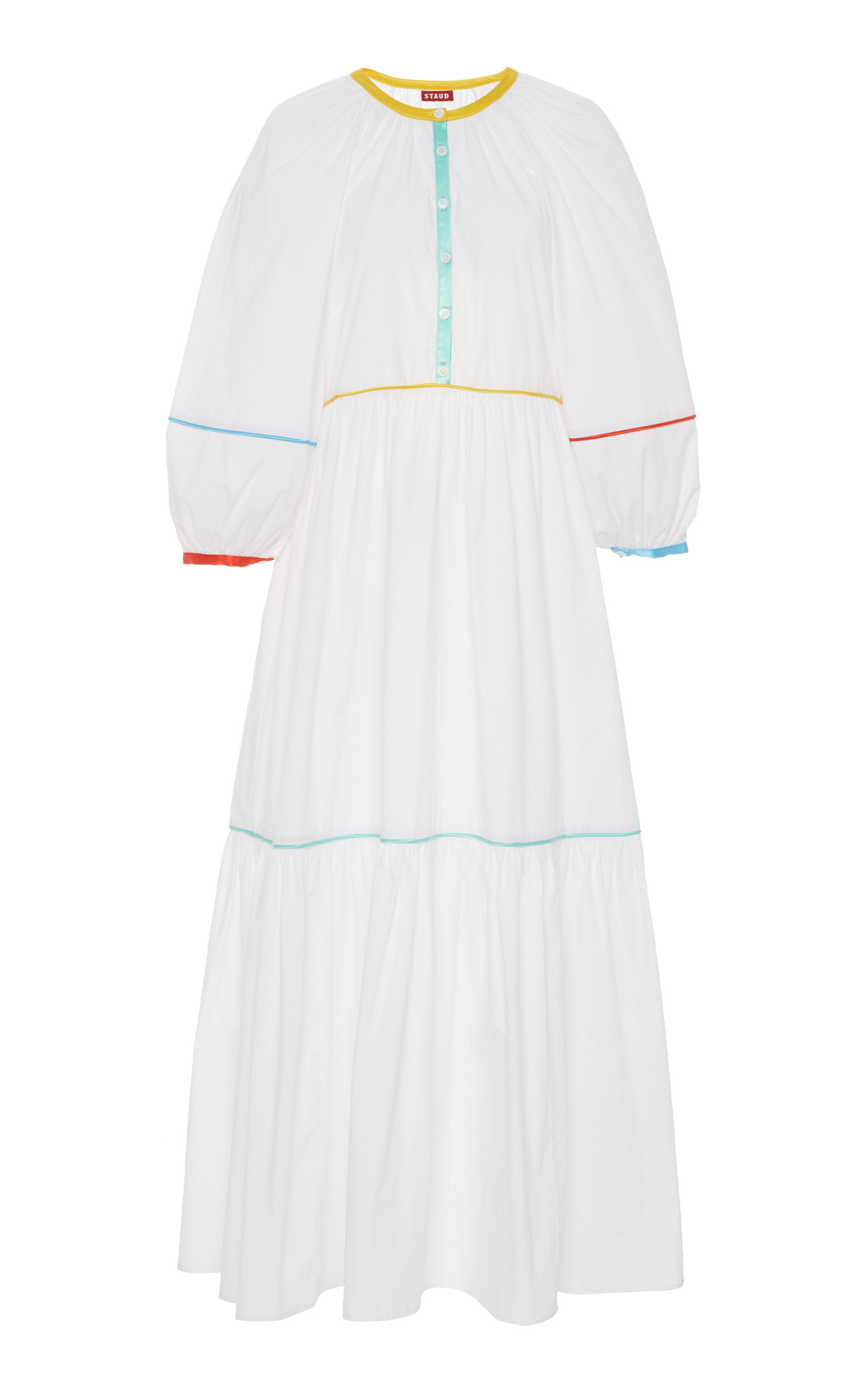 Buy Staud Demi Rainbow Cotton-Poplin Midi Dress online, shop Staud at the best price