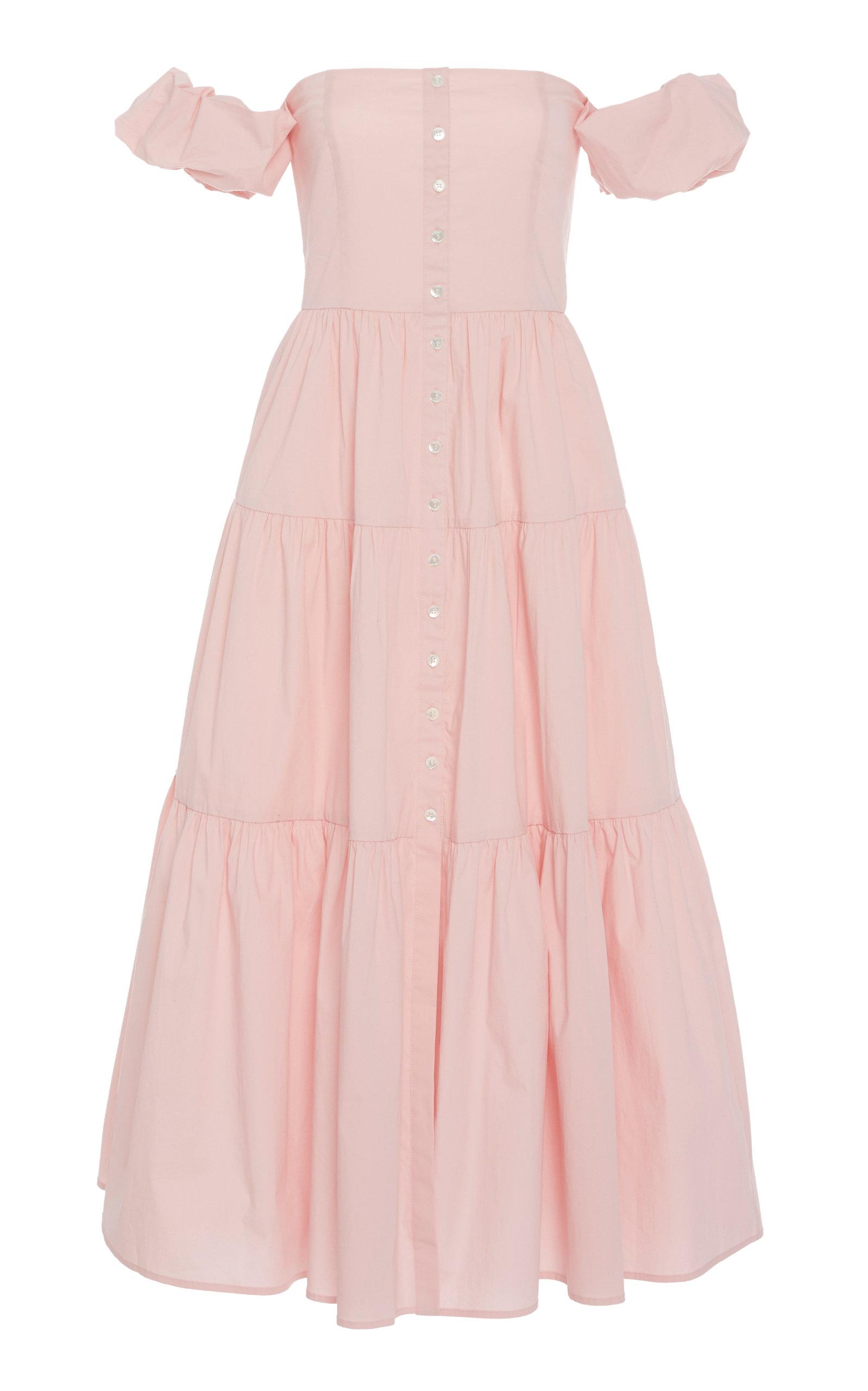 Buy Staud Elio Tiered Cotton-Poplin Off-the-Shoulder Dress online, shop Staud at the best price