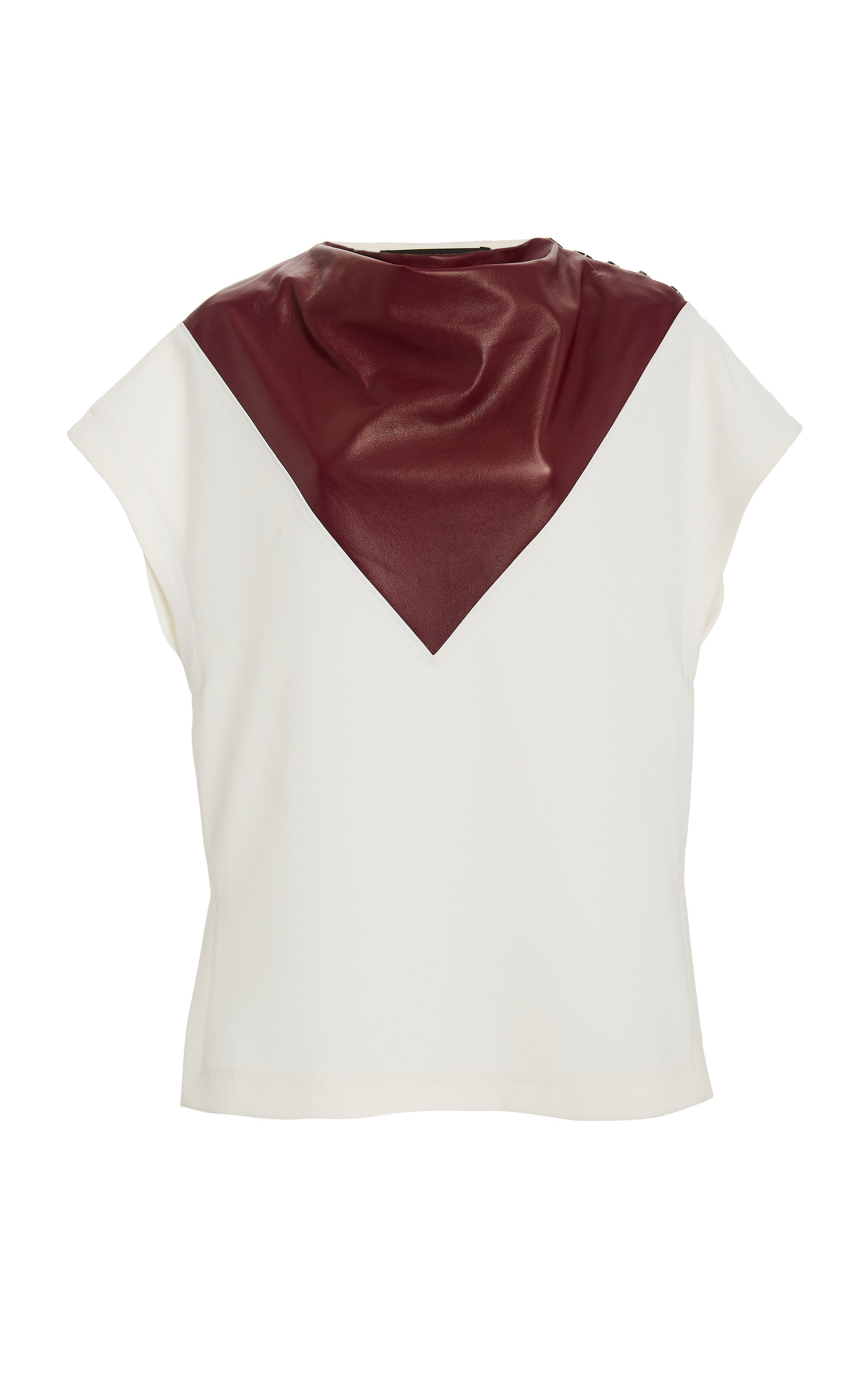 PROENZA SCHOULER BUTTON-DETAILED LEATHER-INSET CREPE TOP